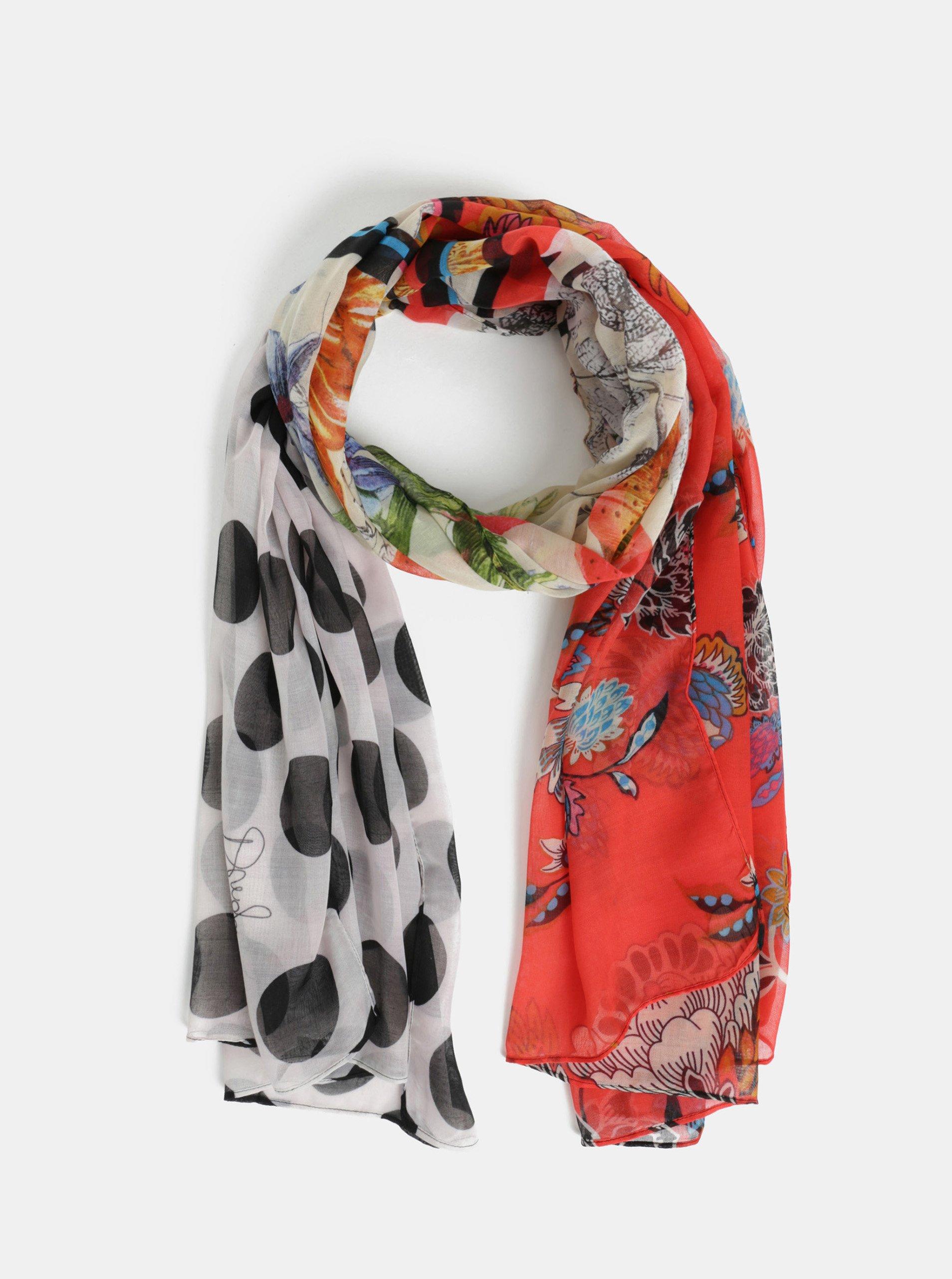 b5ae02fc09d Červeno-bílý vzorovaný šátek Desigual Patch