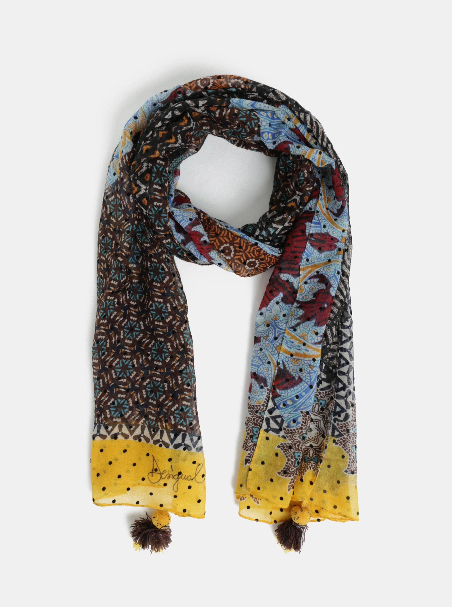 Žluto-hnědý vzorovaný šátek se střapci Desigual Afro
