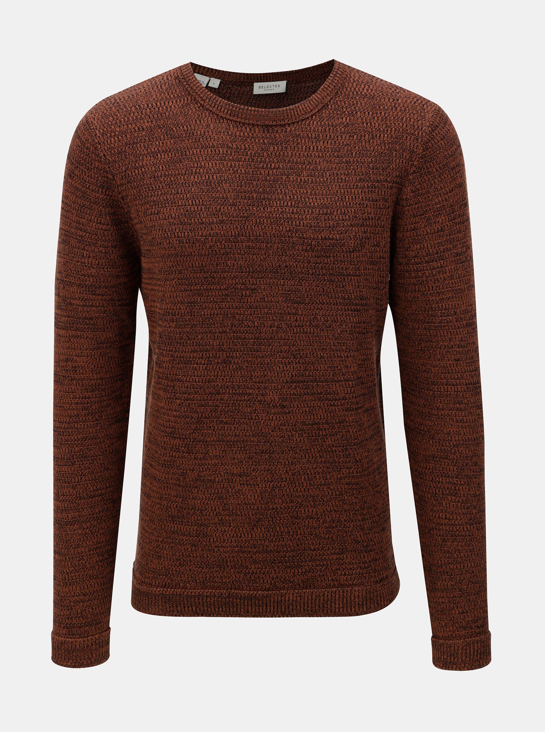 Hnědý žíhaný svetr s kulatým výstřihem  Selected Homme Victor