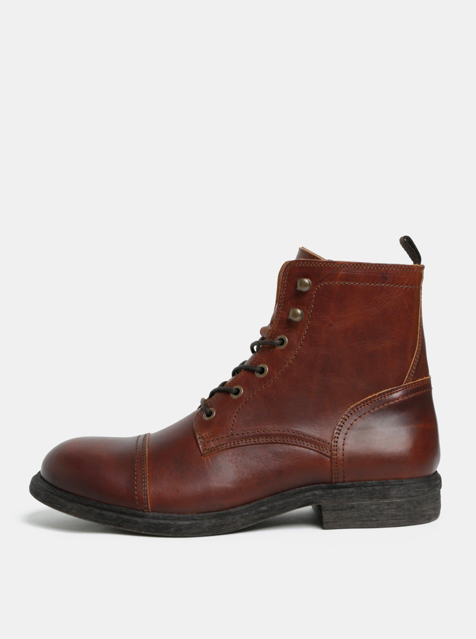 Hnědé pánské kožené kotníkové boty Selected Homme Terrel