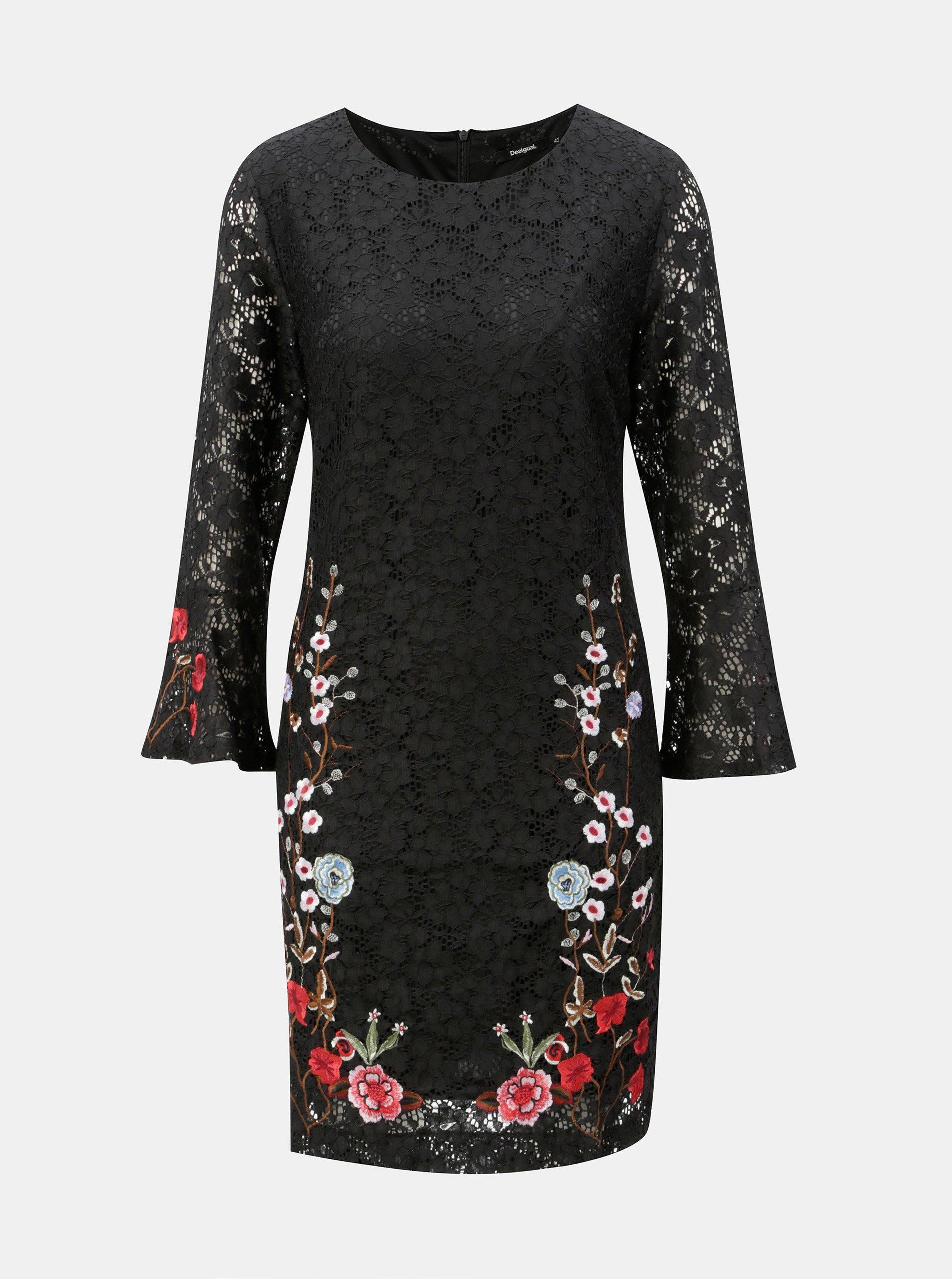 Čierne čipkované šaty s výšivkou Desigual Vermond