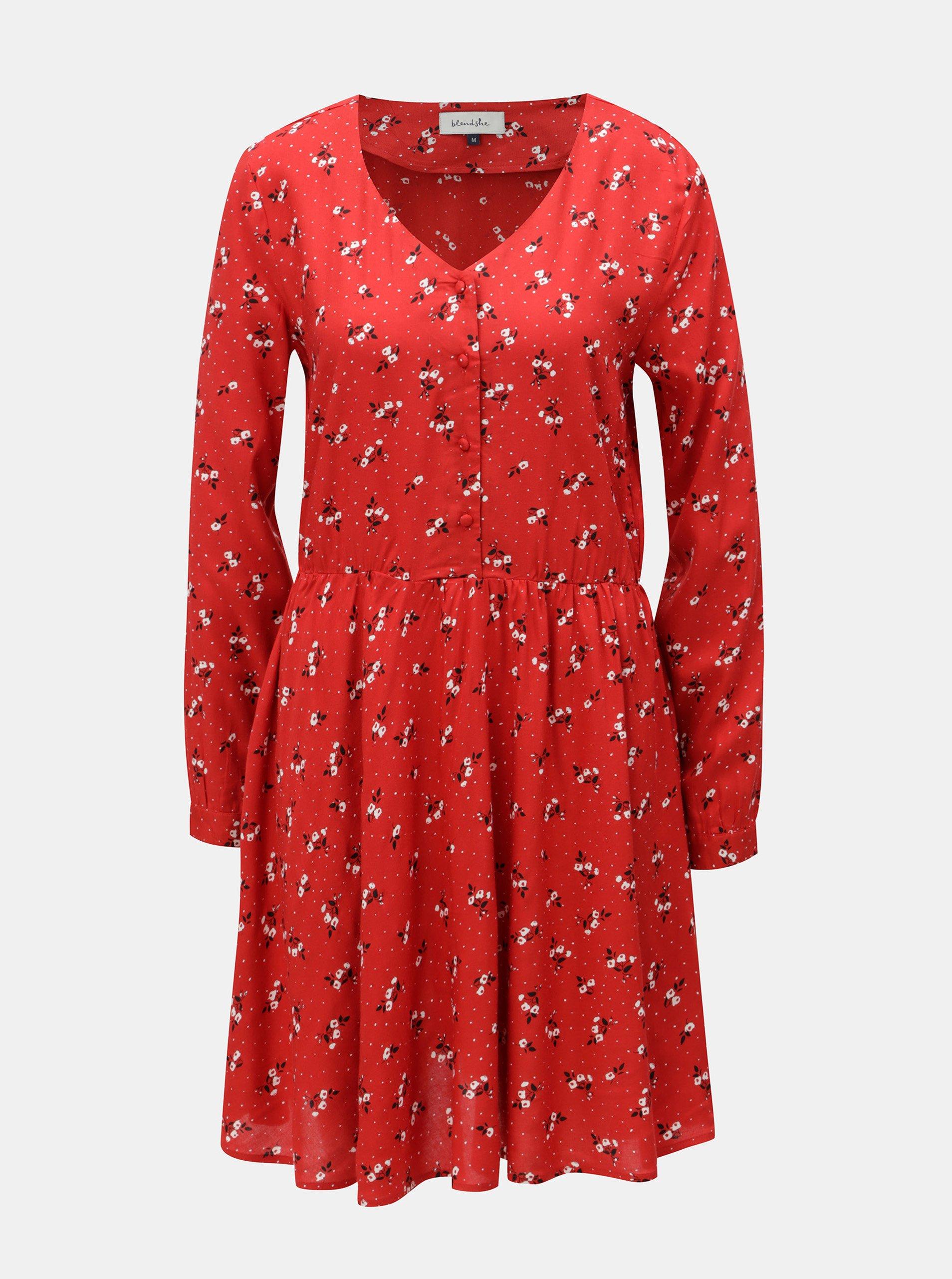 Červené kvetované šaty s dlhým rukávom Blendshe Trudie