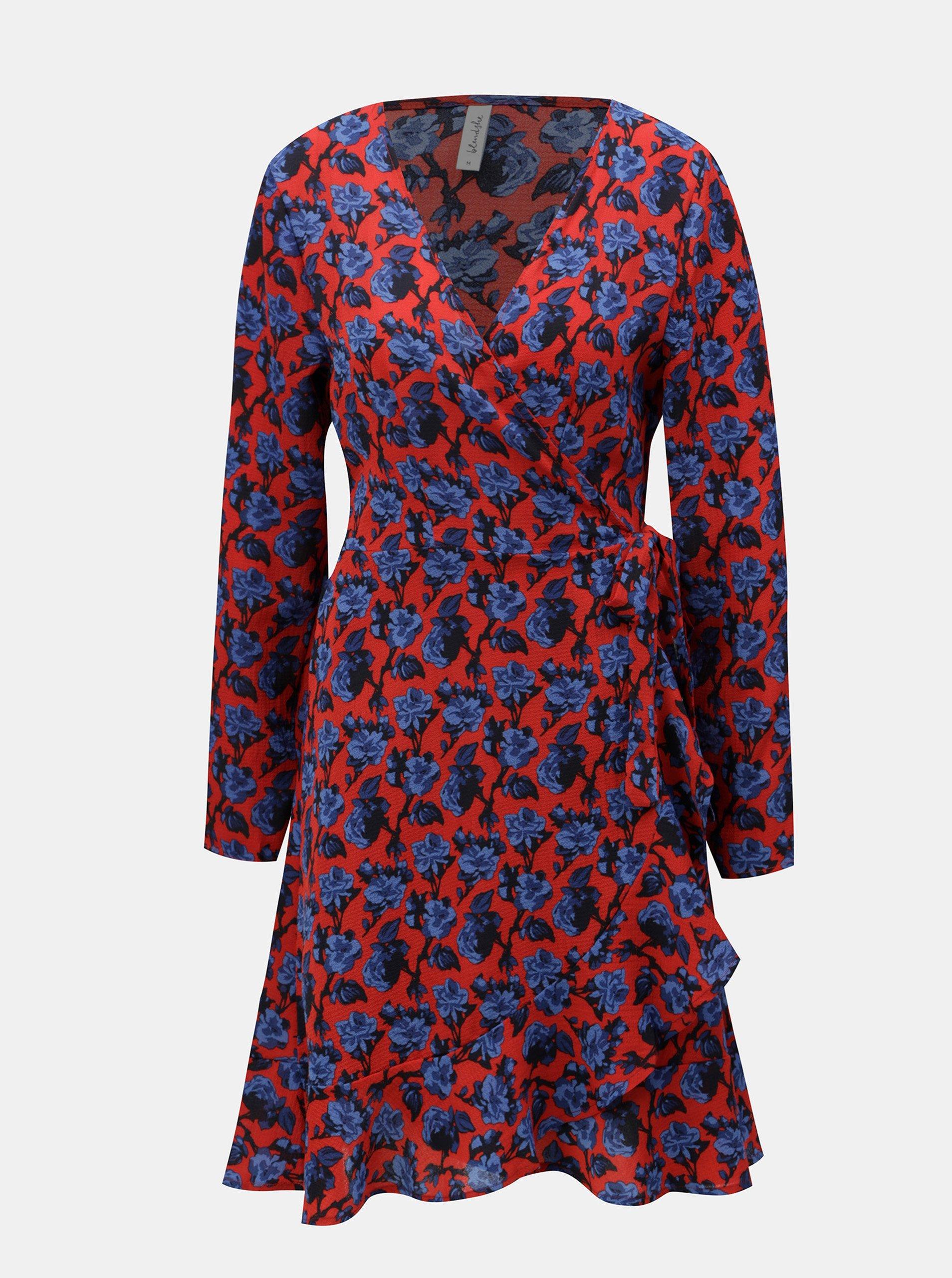 92e4a91f4081 Modro-červené květované zavinovací šaty s volánem Blendshe Trophy