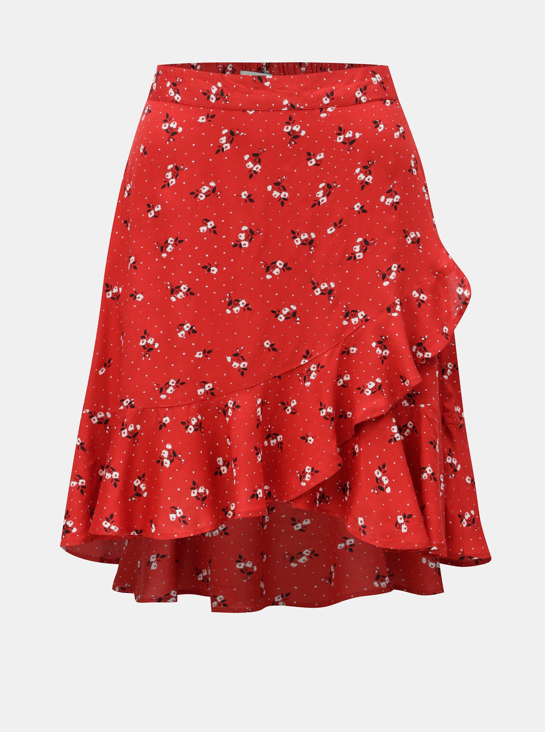 9bdc39687c2a Červená květovaná sukně s volánem Blendshe Trudie