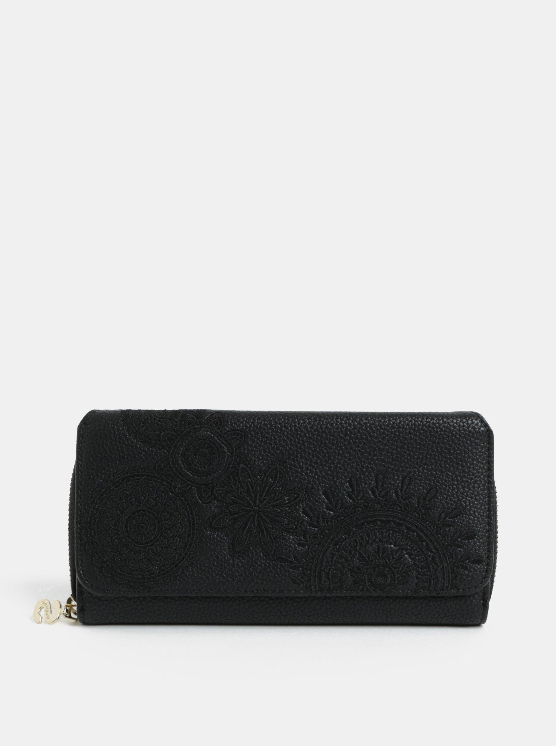 Černá koženková prošívaná peněženka Desigual Amber