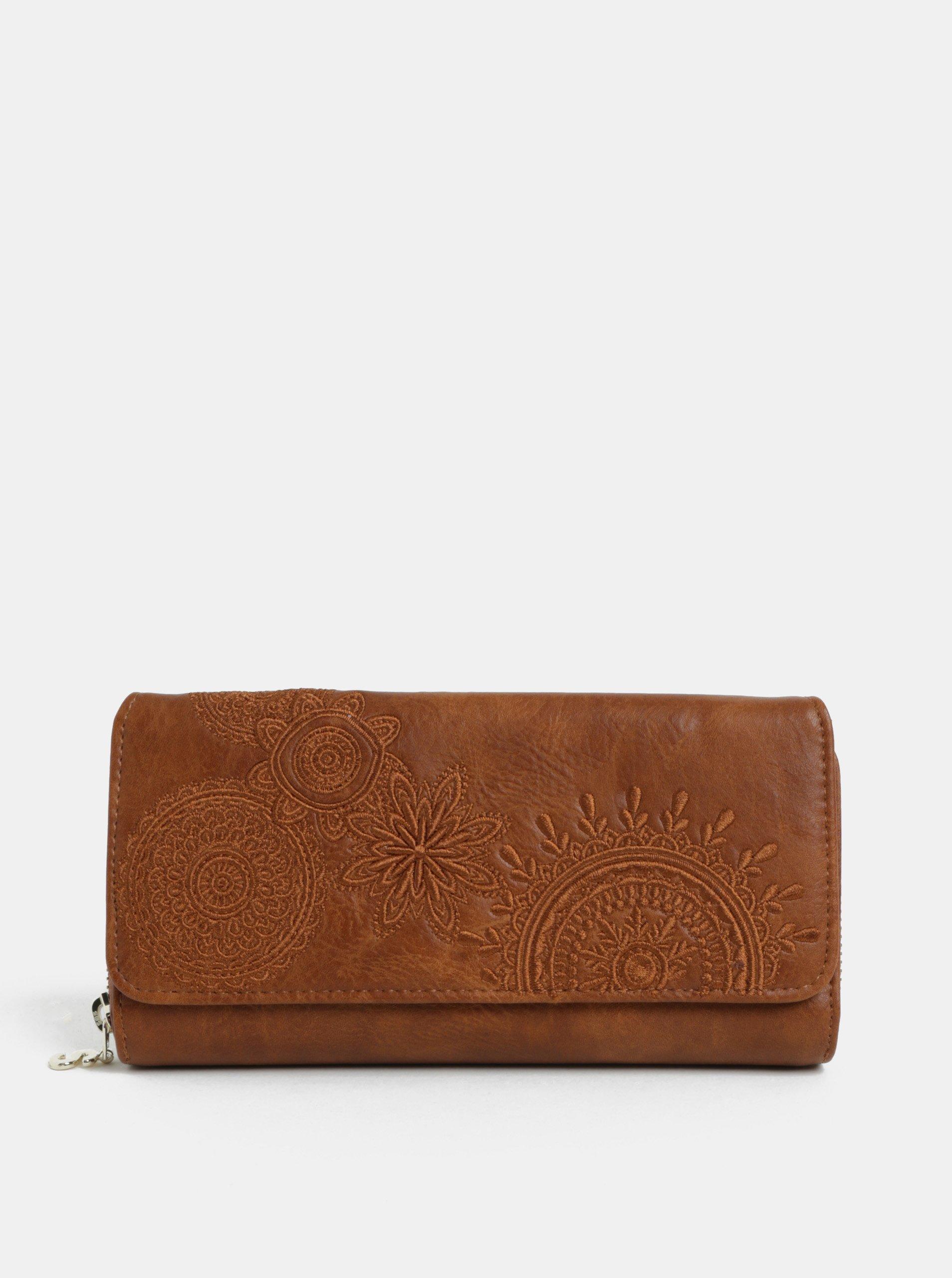Hnědá koženková prošívaná peněženka Desigual Amber