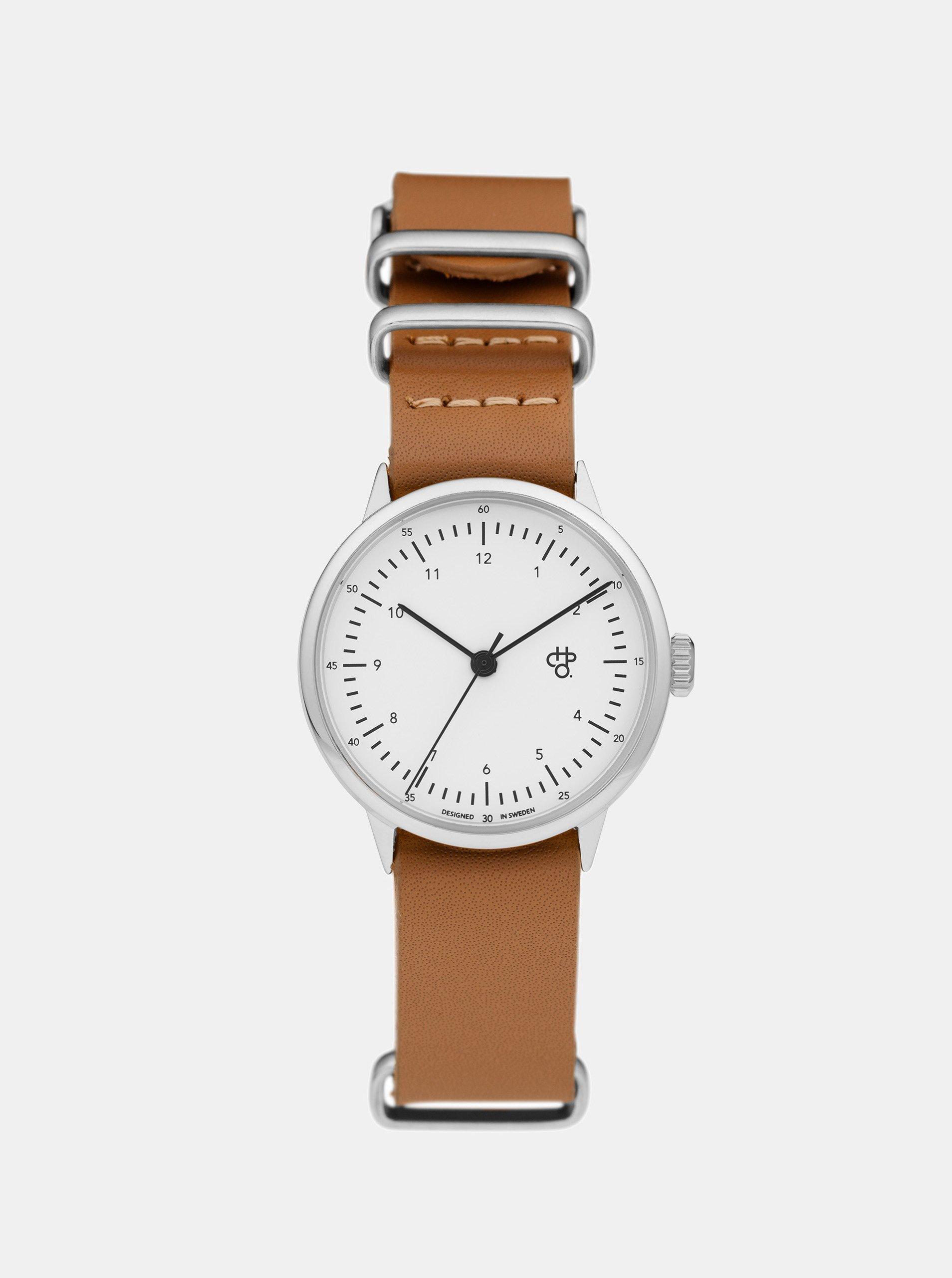 Dámské hodinky ve stříbrné barvě s hnědým koženým páskem CHPO Harold Mini 2b304b3487