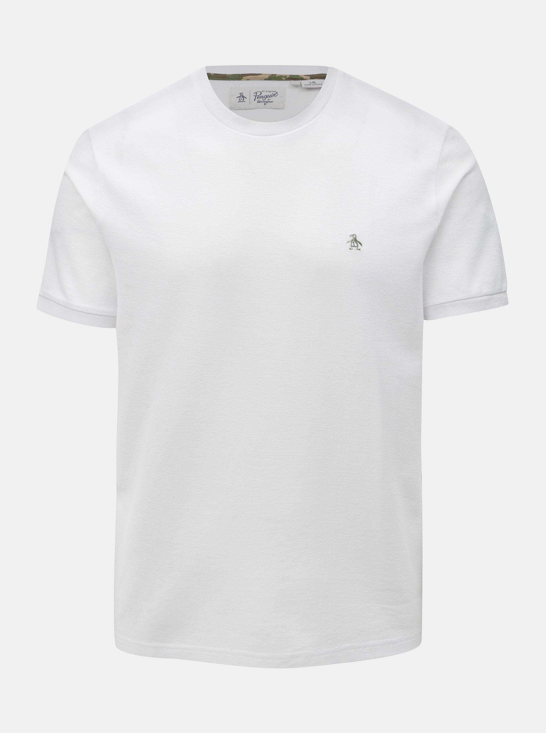 Bílé basic tričko s drobnou výšivkou Original Penguin Camo logo