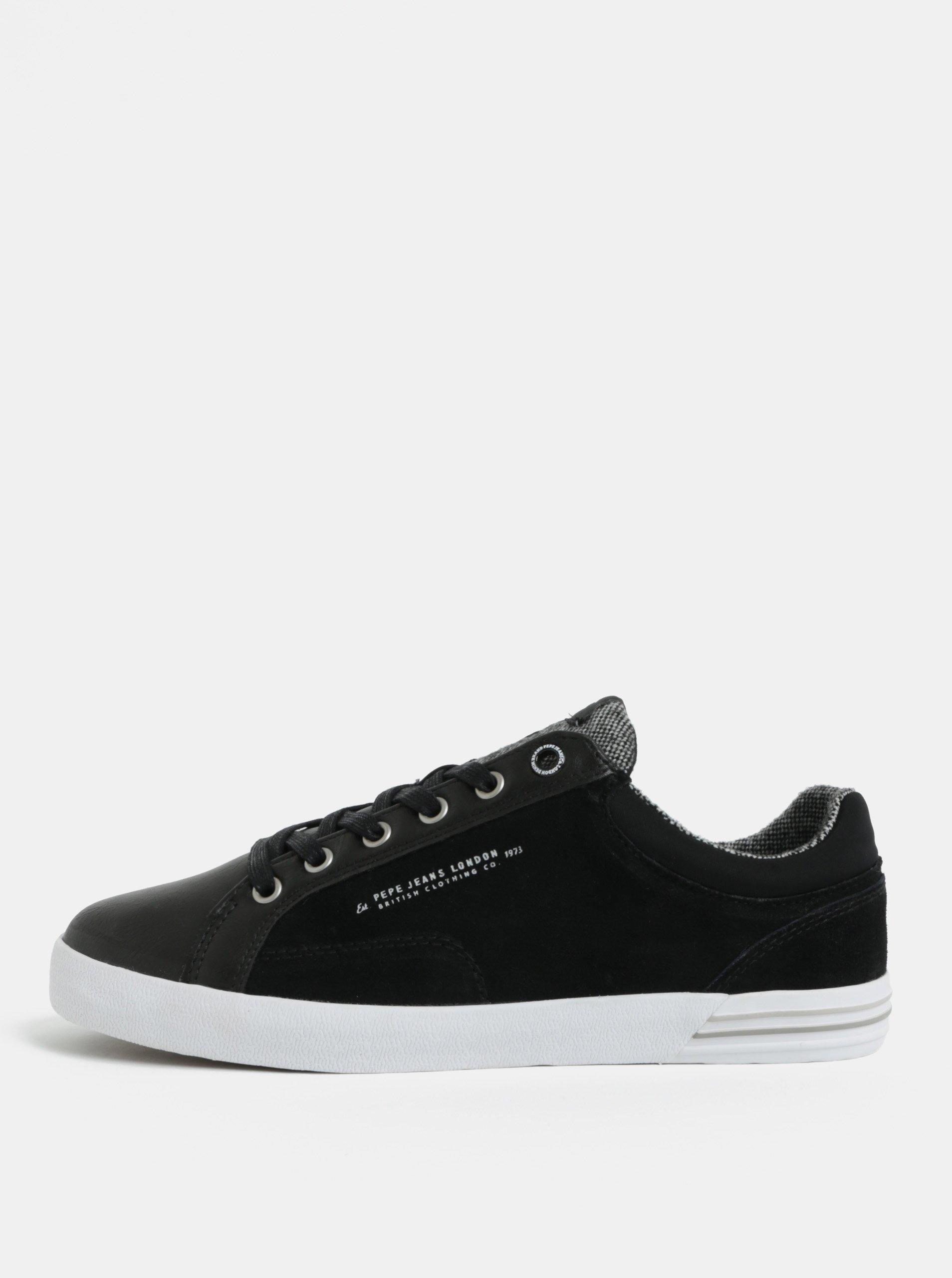 Čierne pánske kožené tenisky Pepe Jeans North