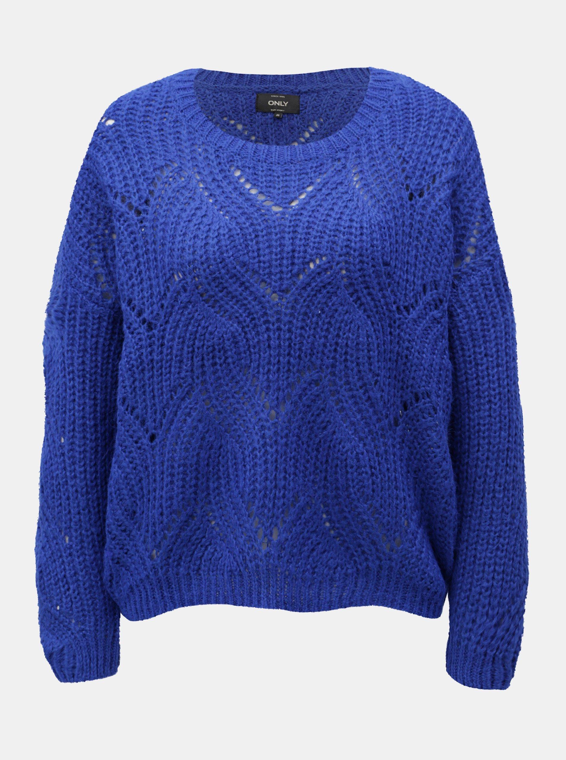 Modrý voľný sveter s dlhým rukávom ONLY Havana