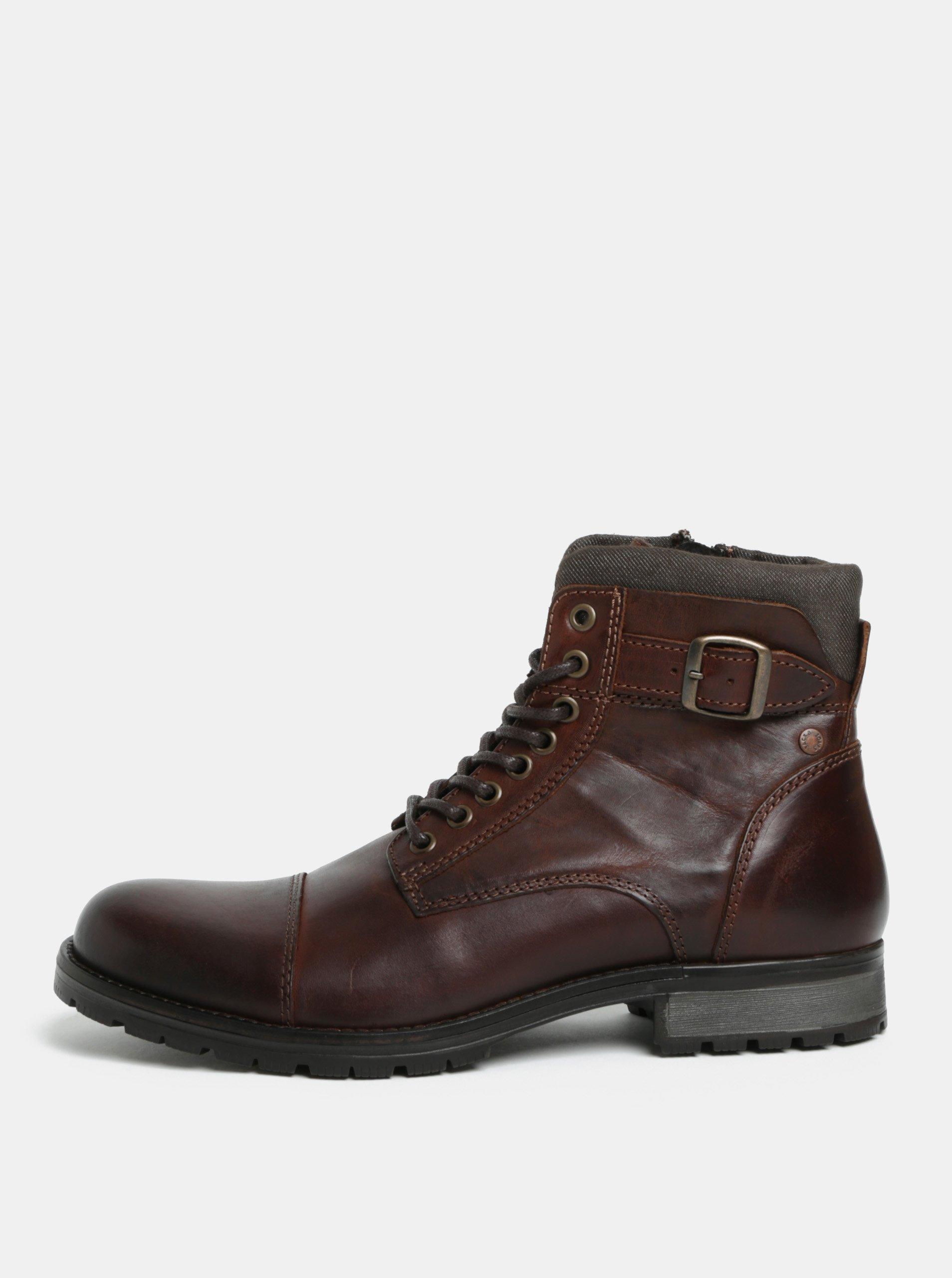 Tmavě hnědé pánské kožené kotníkové boty s přezkou Jack   Jones Bany 4b9cb8f828