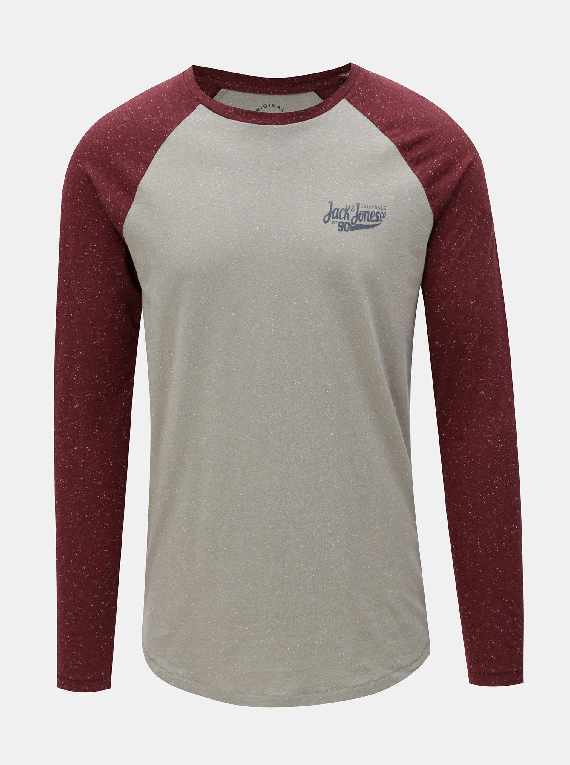 25518685dc89 Vínovo-šedé pánské lehce žíhané tričko s potiskem Jack   Jones