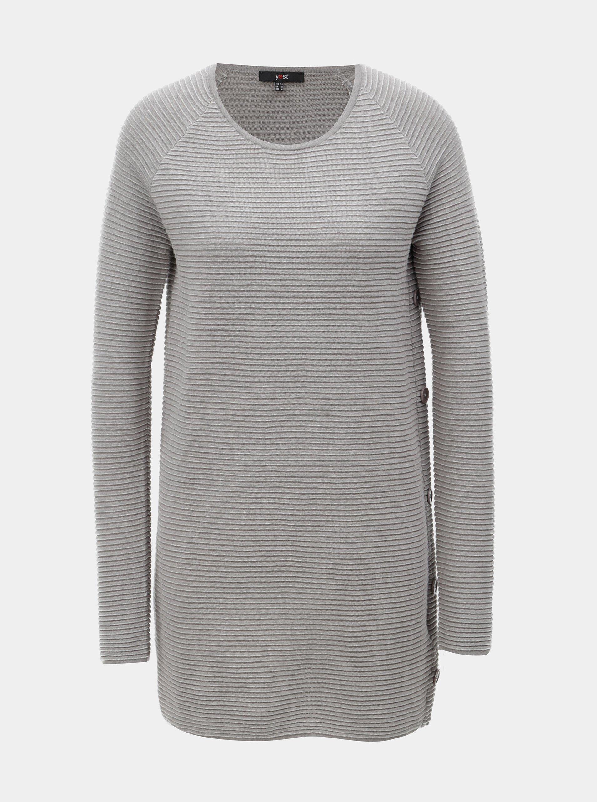 Šedý strukturovaný svetr s plastickým vzorem Yest 57a83a3d4e
