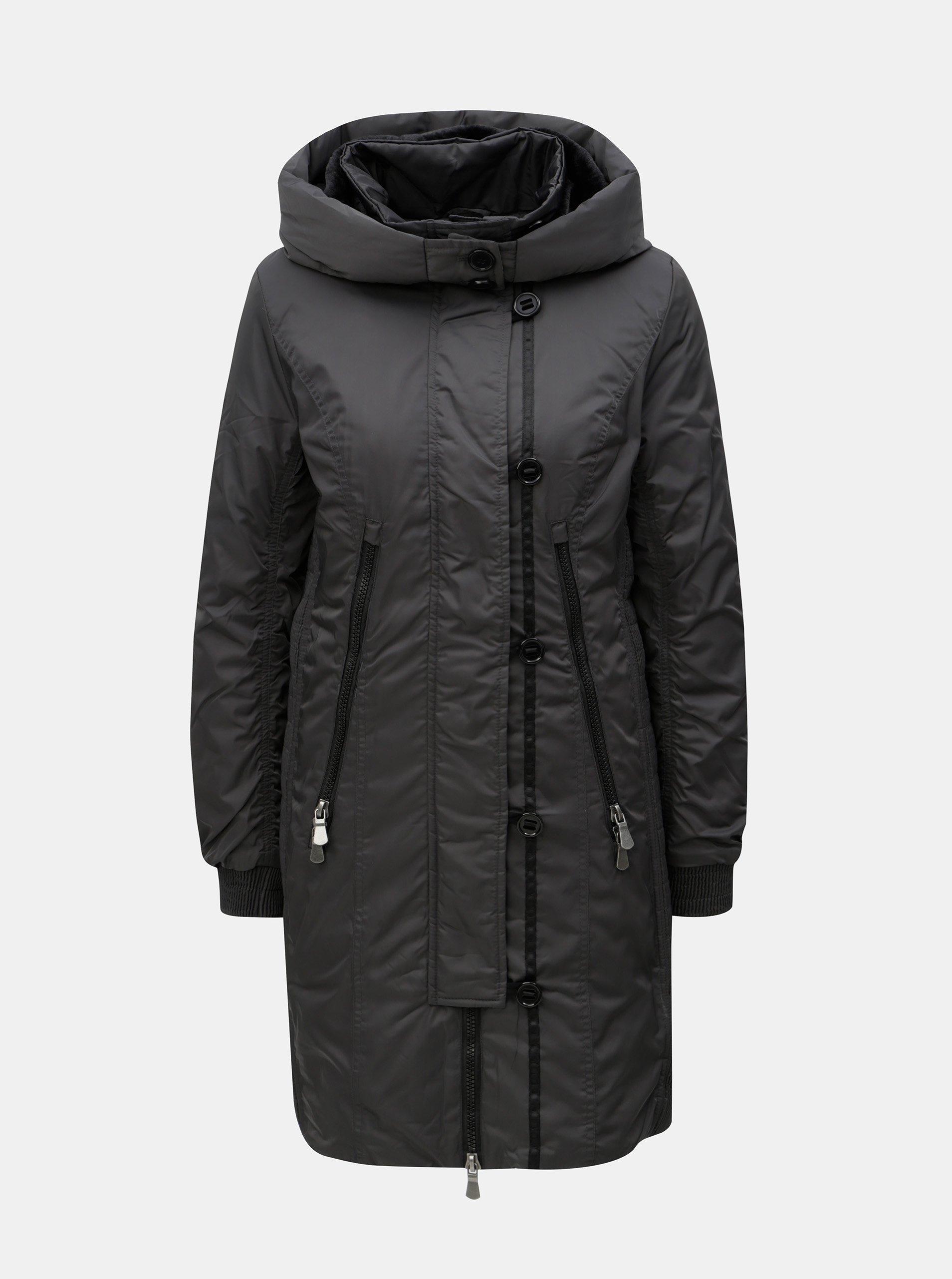 Tmavě šedý zimní kabát s umělým kožíškem Yest