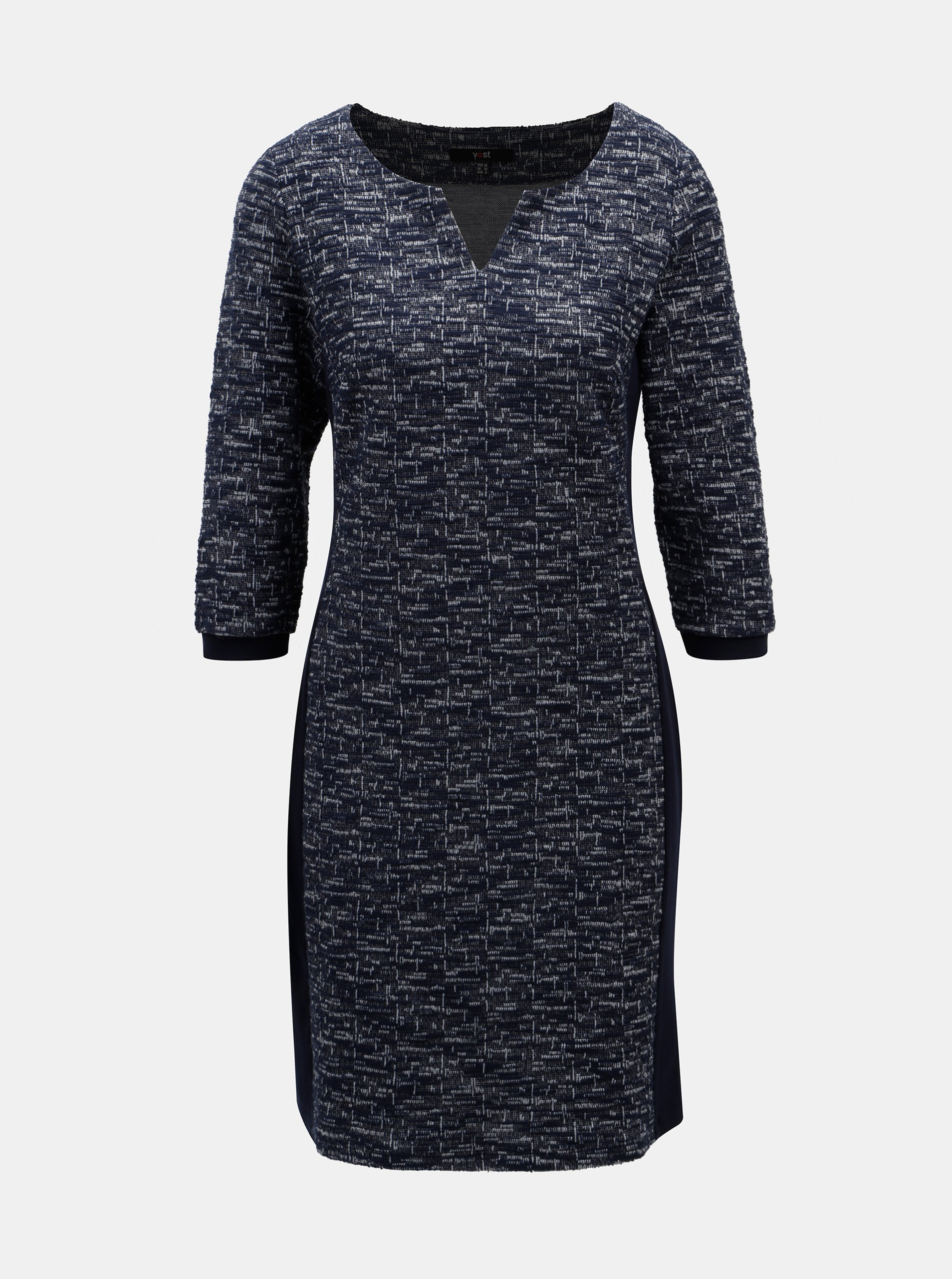 Tmavomodré melírované šaty s 3/4 rukávom Yest