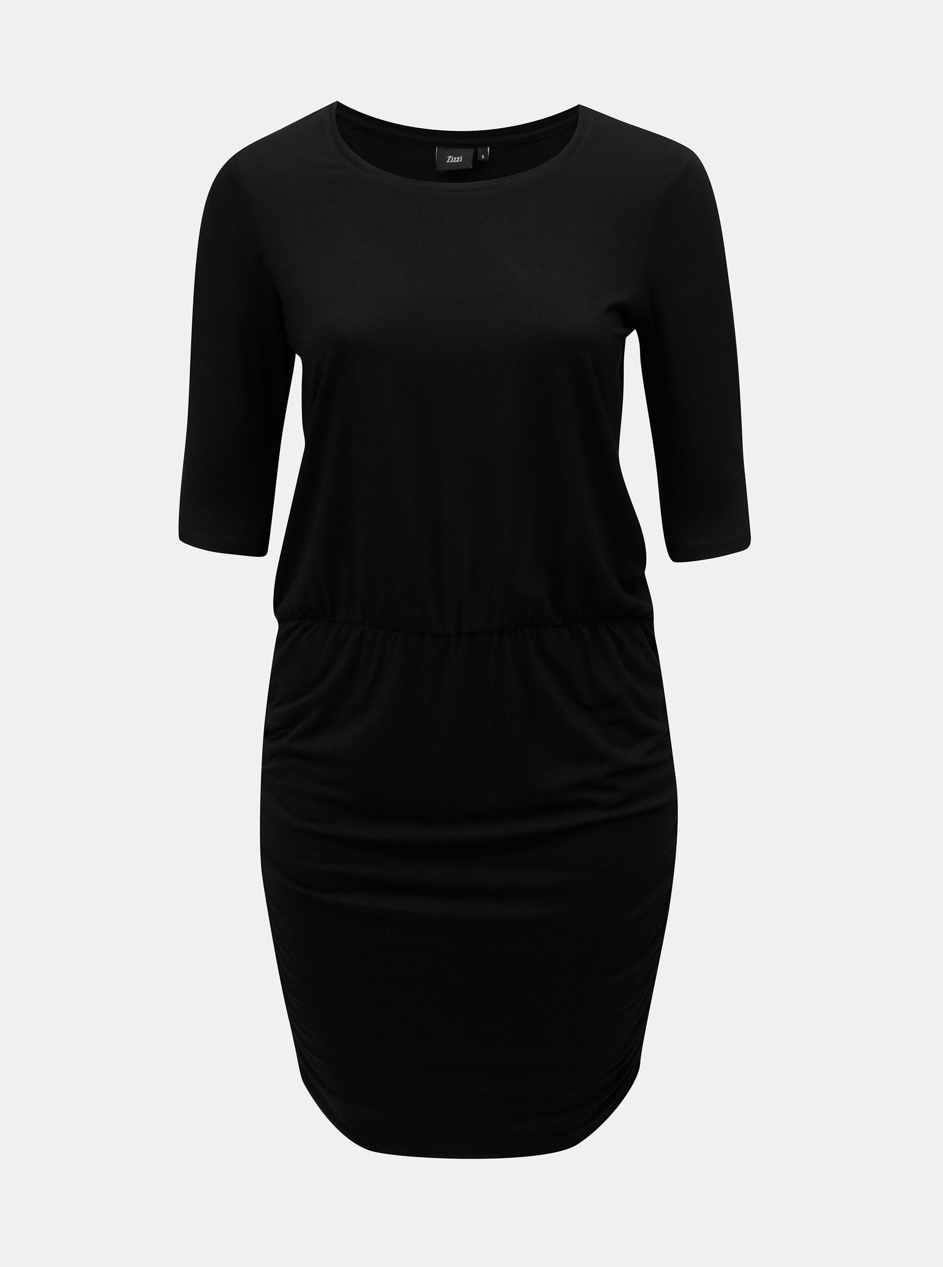 Černé pouzdrové šaty s krátkým rukávem Zizzi Ralfi d4e91d1c482