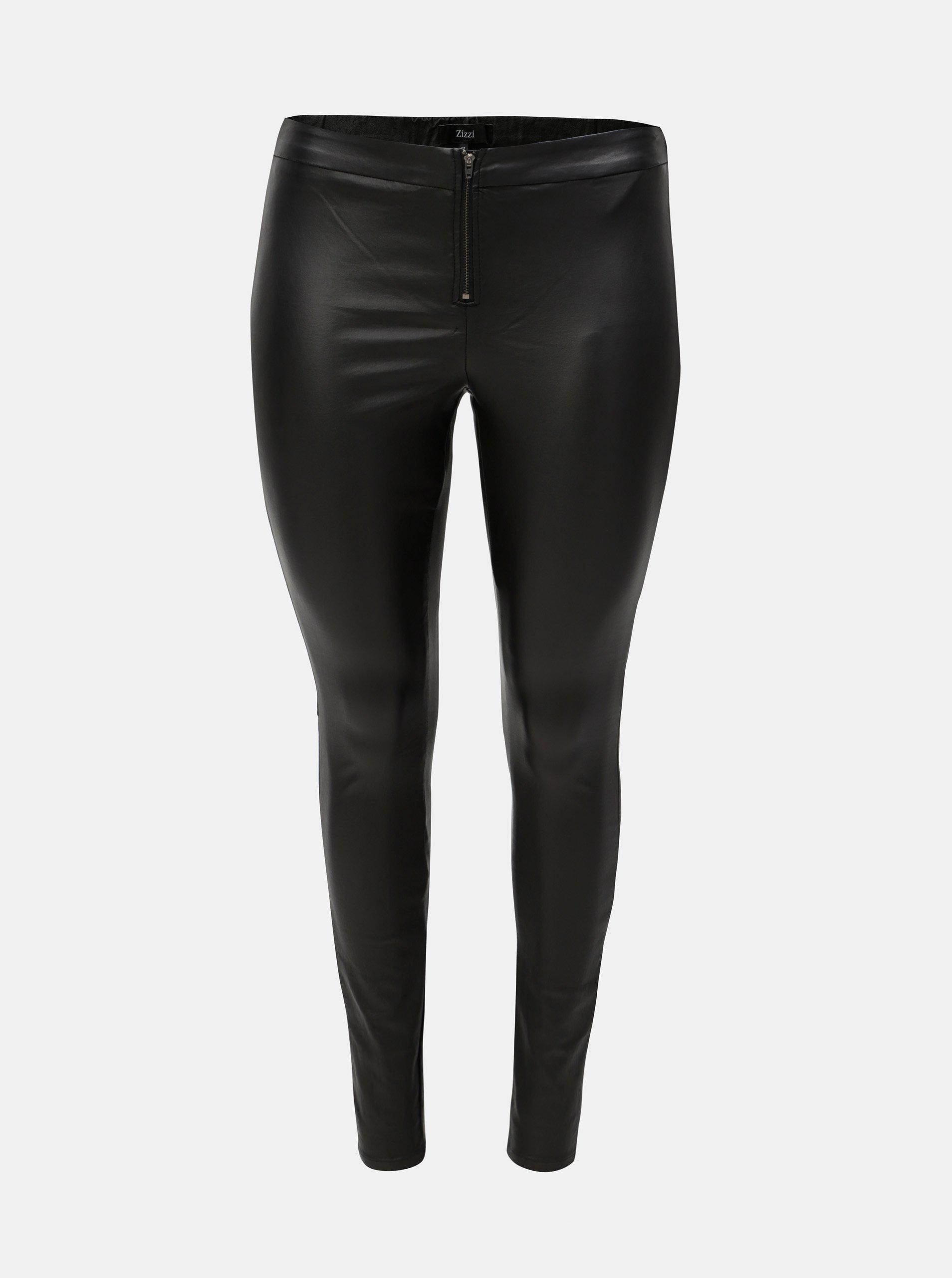 Černé lesklé kalhoty se zipem Zizzi Autimn 90cf735b1b