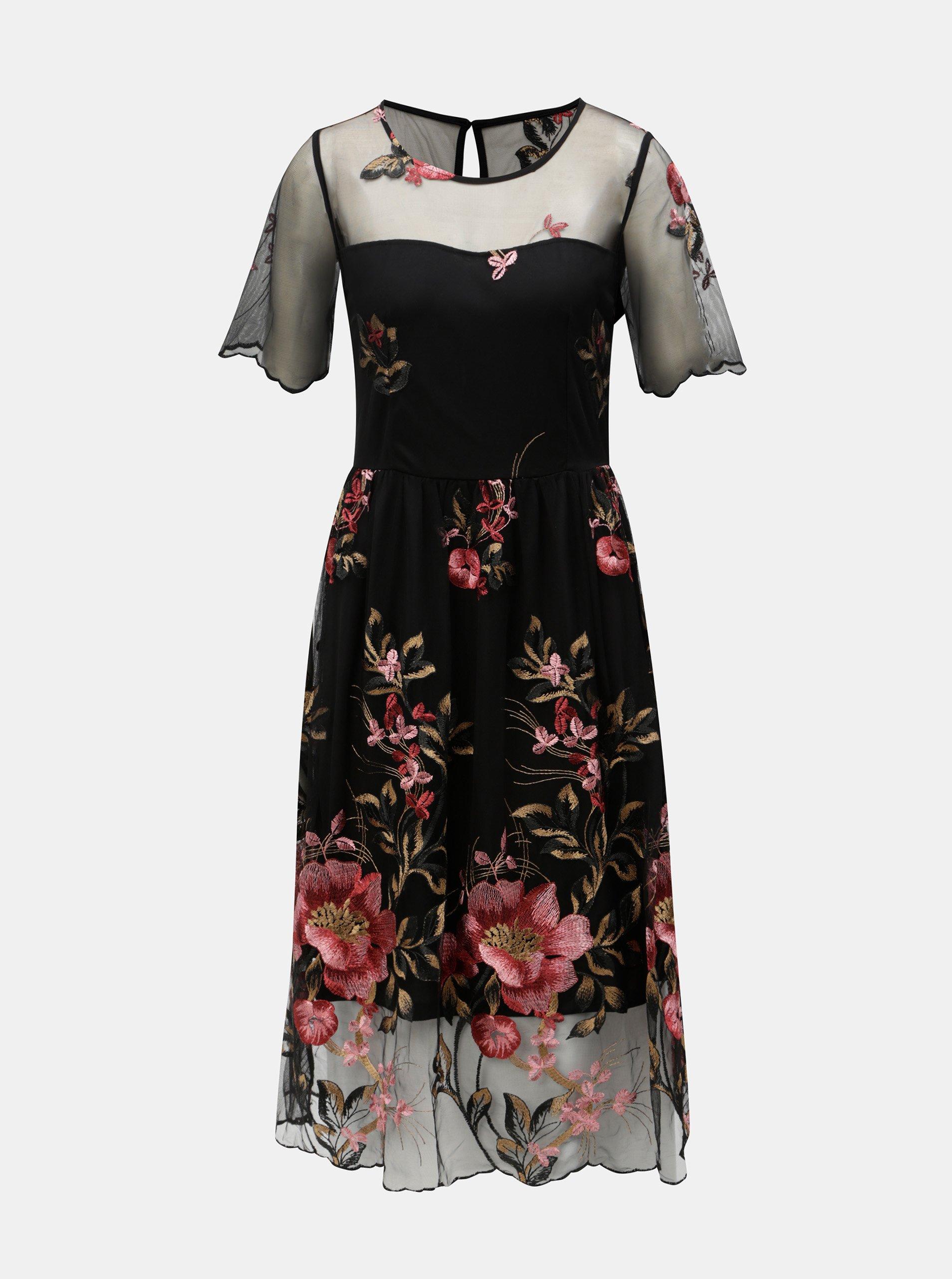 Čierne šaty s kvetovanou výšivkou VILA Perno c7a3870c64c