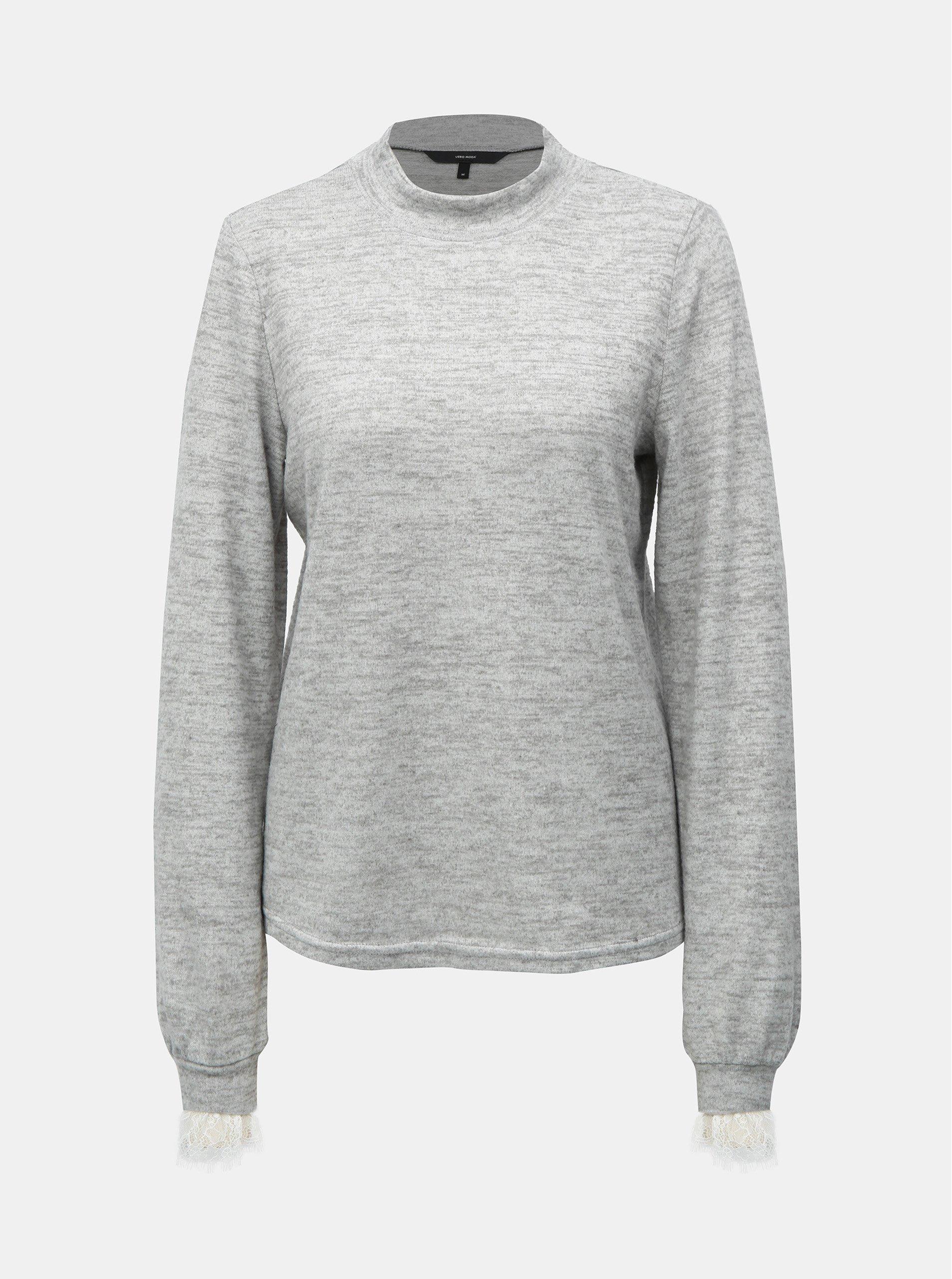 Fotografie Šedý žíhaný svetr s krajkou a stojáčkem VERO MODA Penny