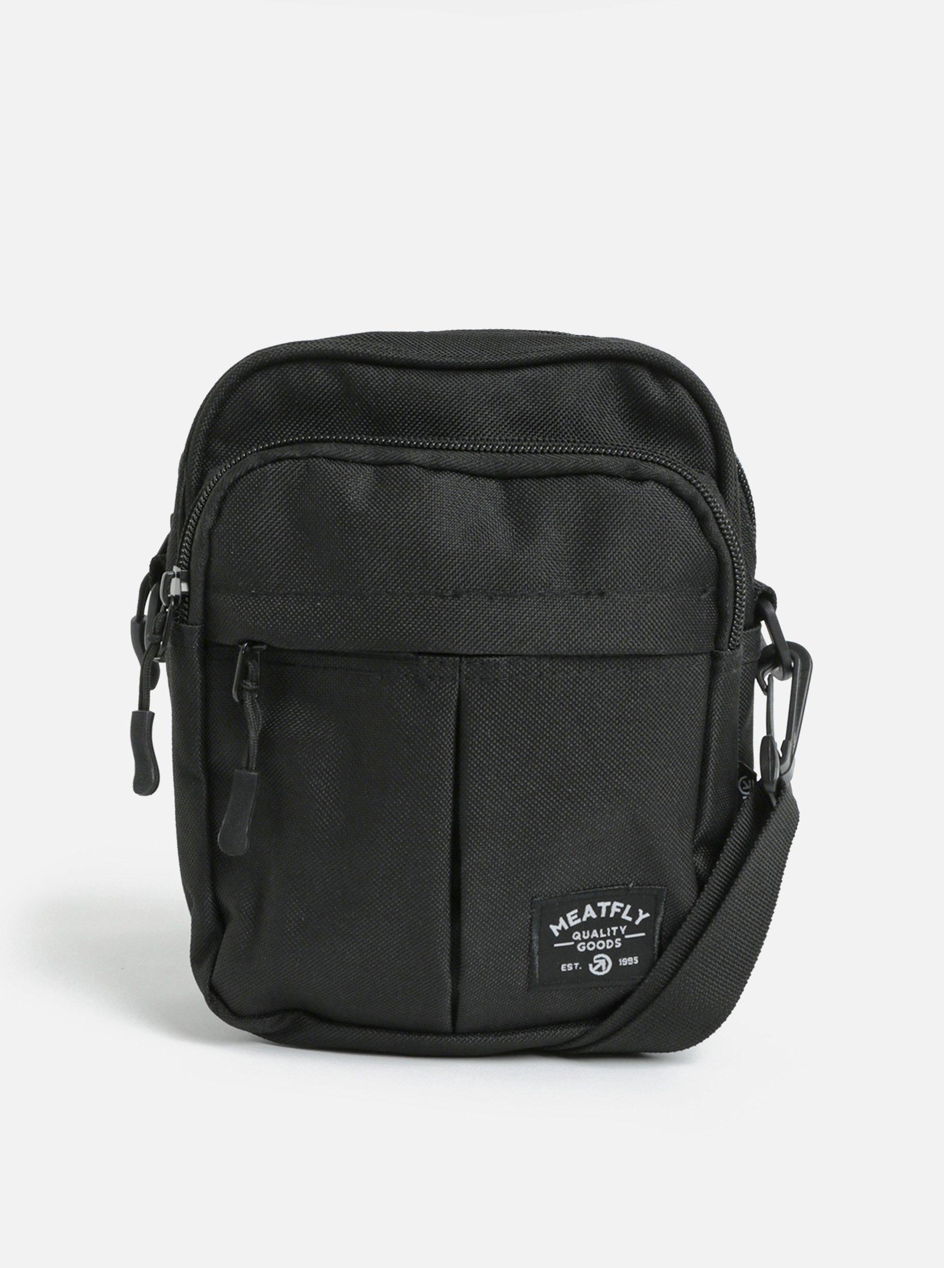 Černá crossbody taška s nášivkou Meatfly Hardy