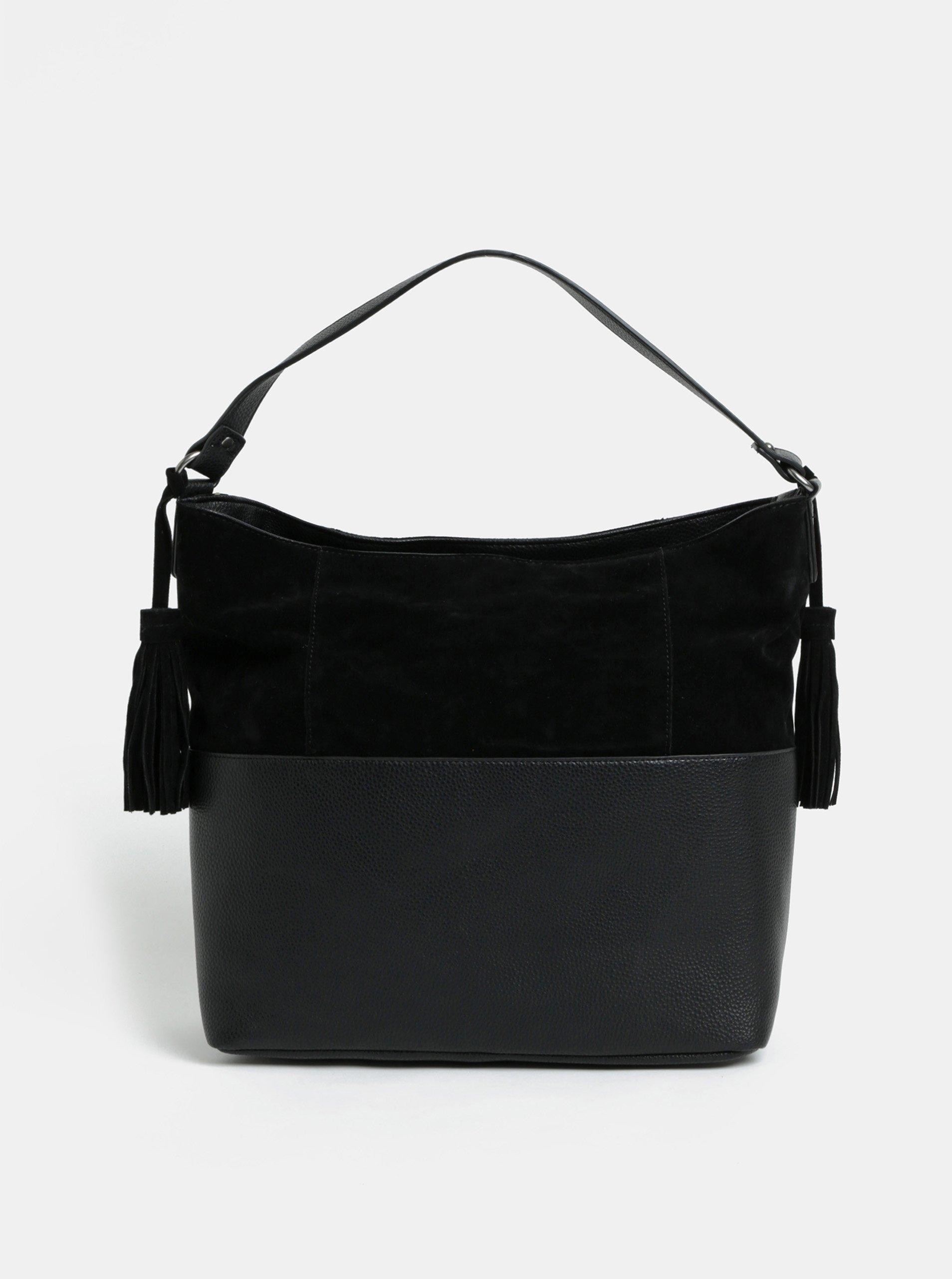 Černá kabelka s třásněmi a detaily v semišové úpravě VERO MODA Malma