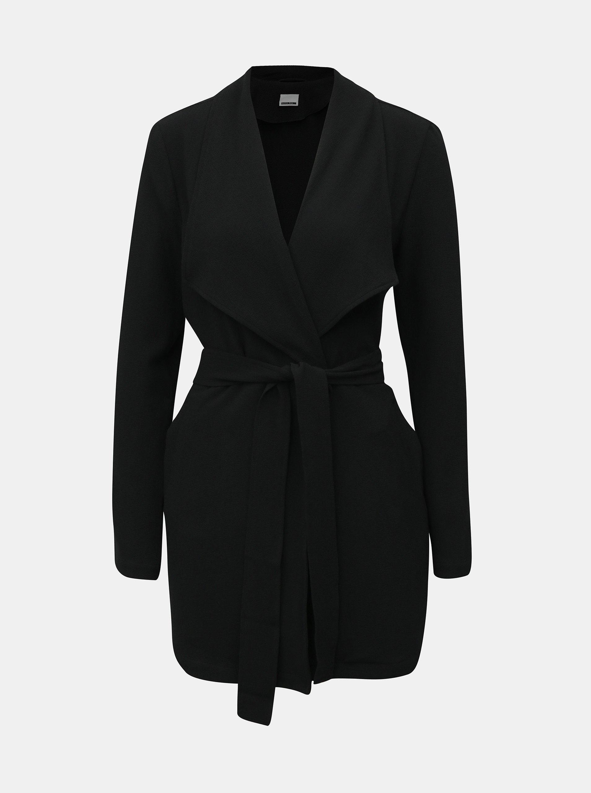 Černý lehký kabát se zavazováním Noisy May Ronnie