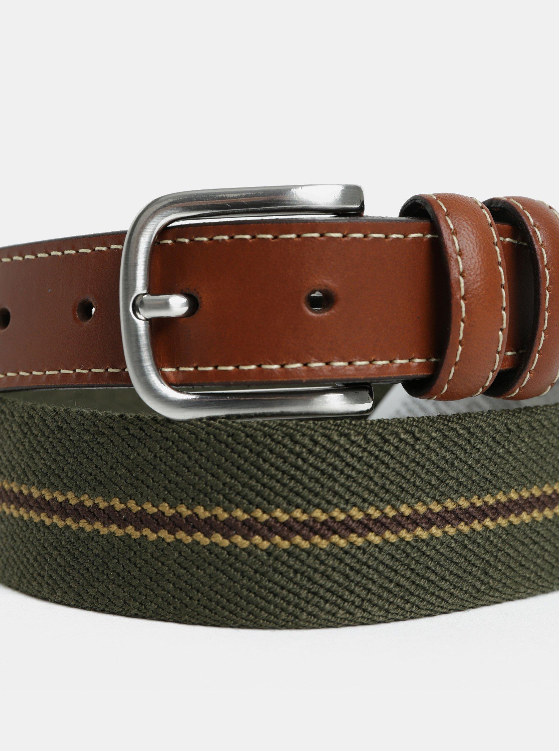 Tmavě zelený pásek s koženými detaily Selected Homme Per