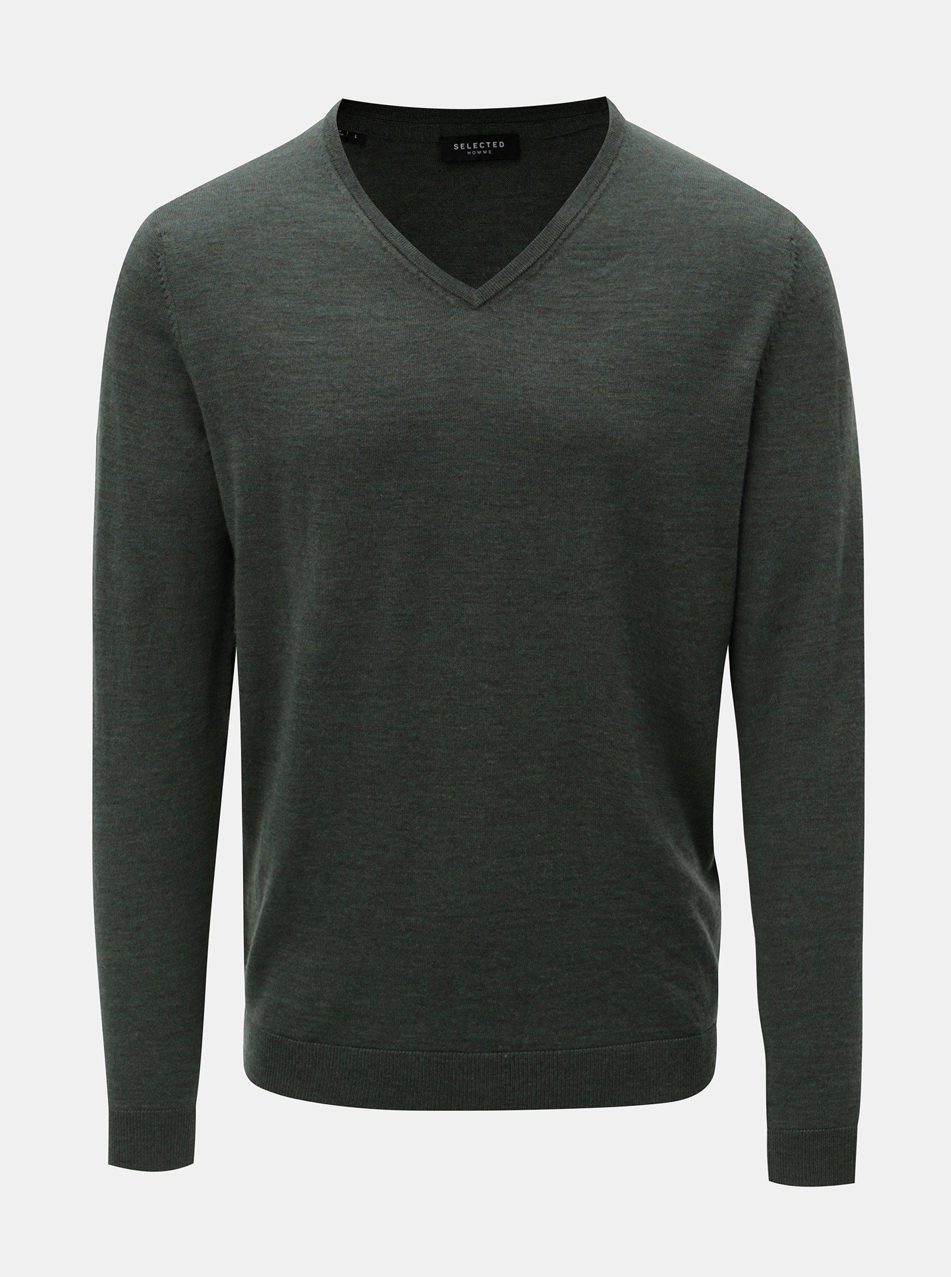Zelený vlněný lehký svetr s véčkovým výstřihem Selected Homme