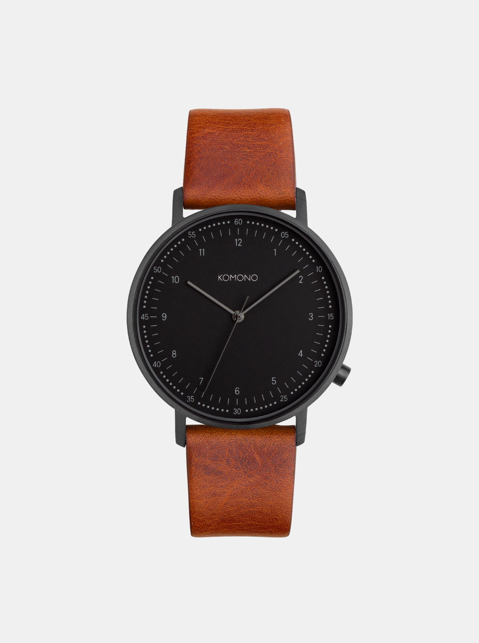 Pánske hodinky s hnedým koženým remienkom Komono Winston Subs
