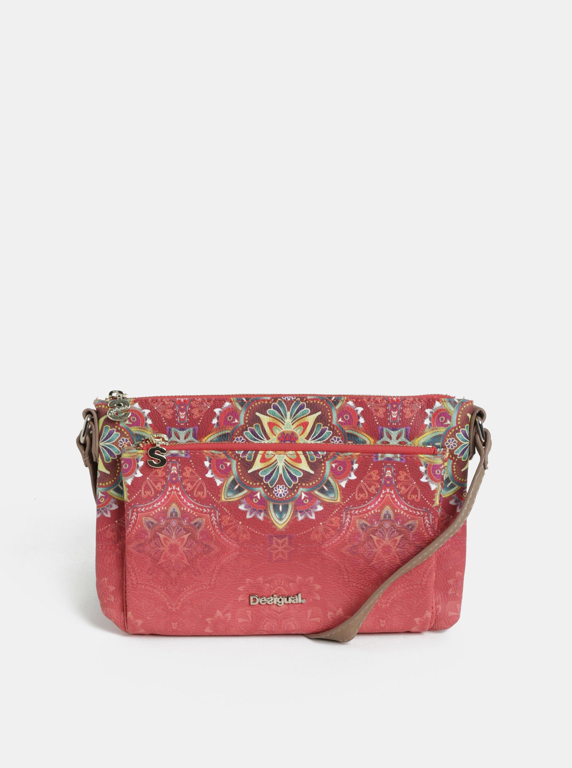 Růžová crossbody koženková kabelka Desigual Polaris