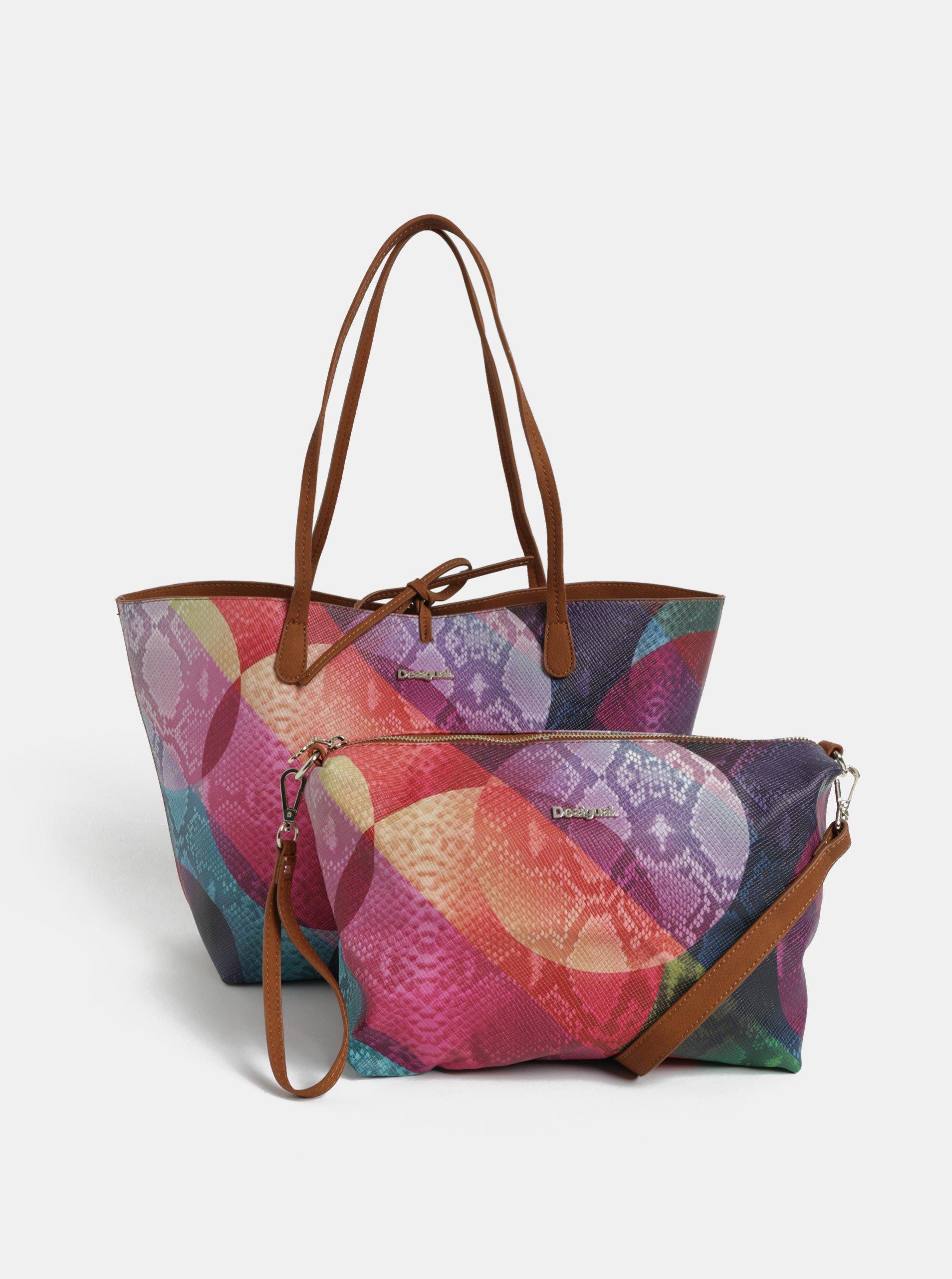 Hnedo-fialový obojstranný shopper s puzdrom Desigual Mercury