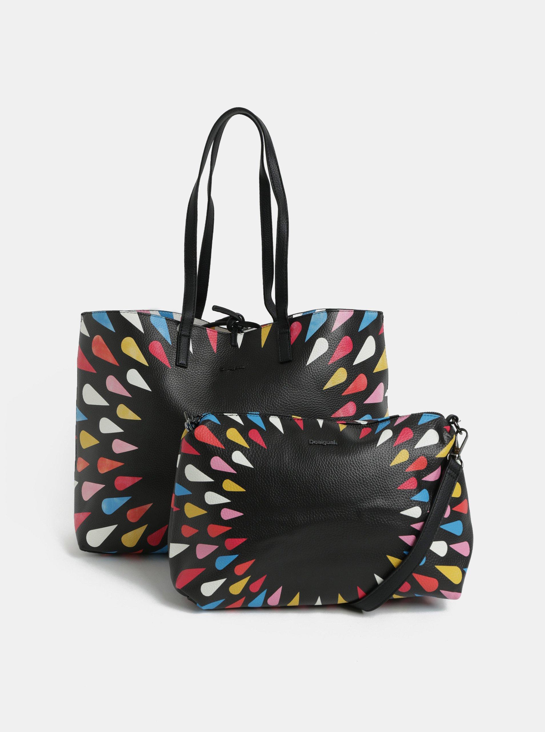 Bielo-čierny obojstranný shopper s puzdrom Desigual Tears 8f71b9be456