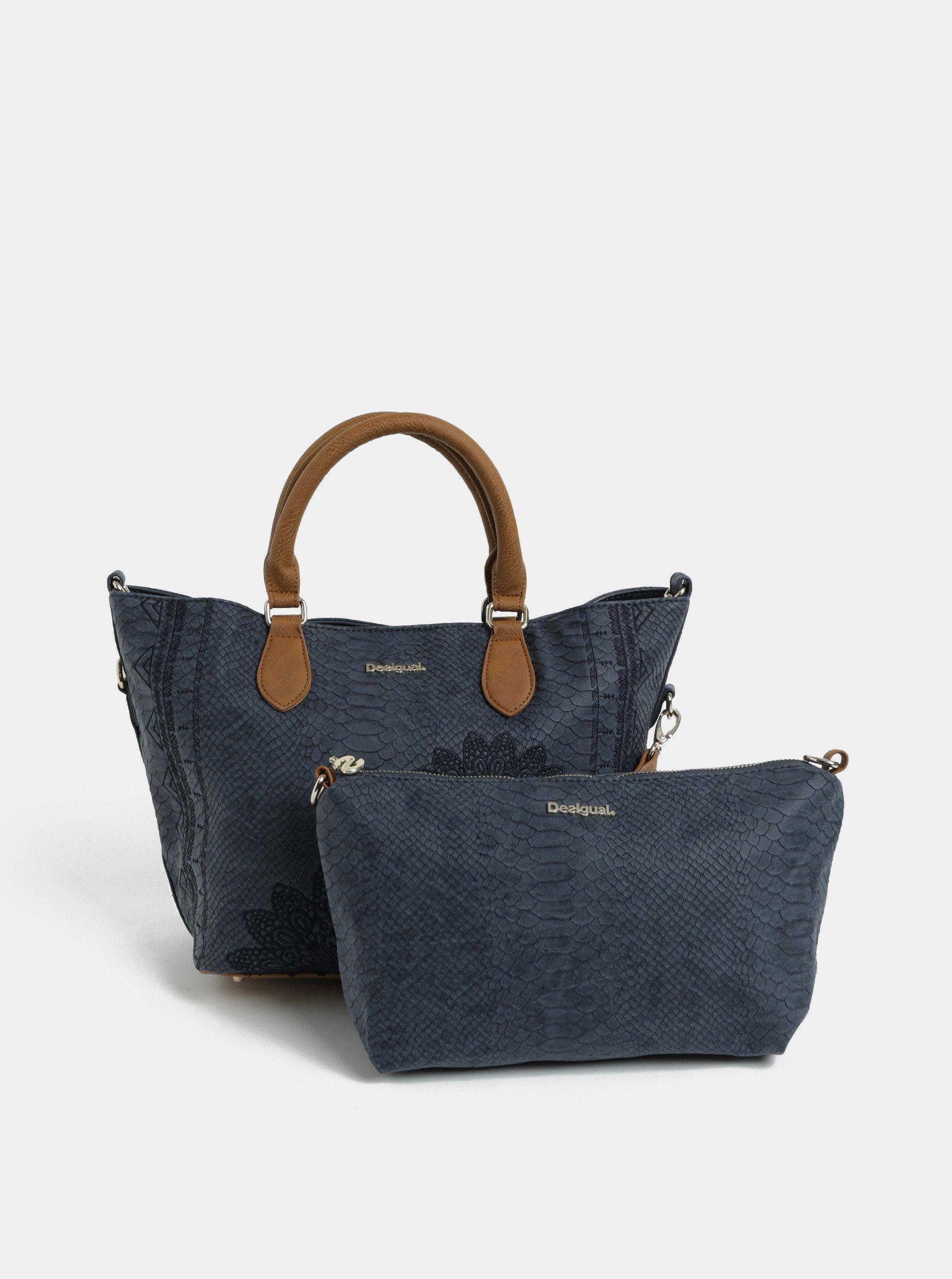 Modrá vzorovaná kabelka s puzdrom Desigual Aquiles