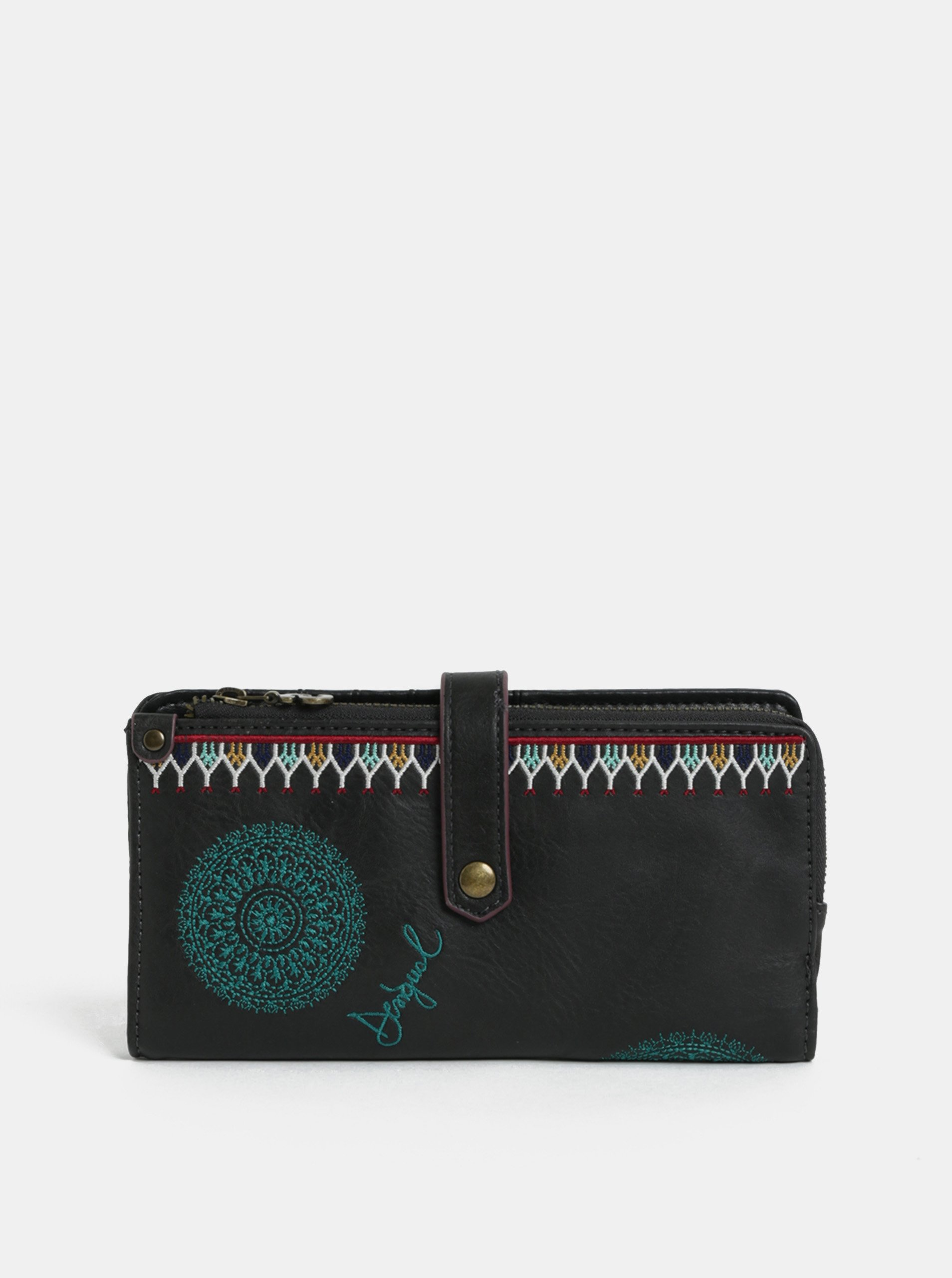 Tmavě hnědá peněženka s výšivkou Desigual Siara