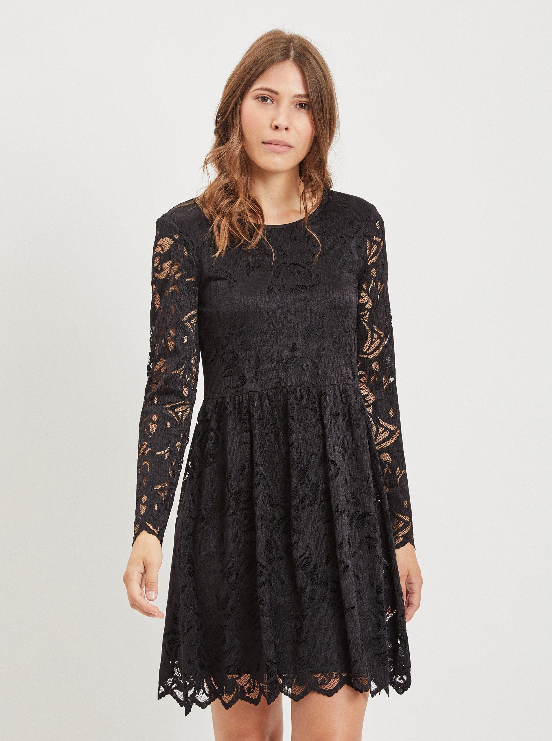 b90c1f759384 Čierne čipkované šaty VILA Vistasia