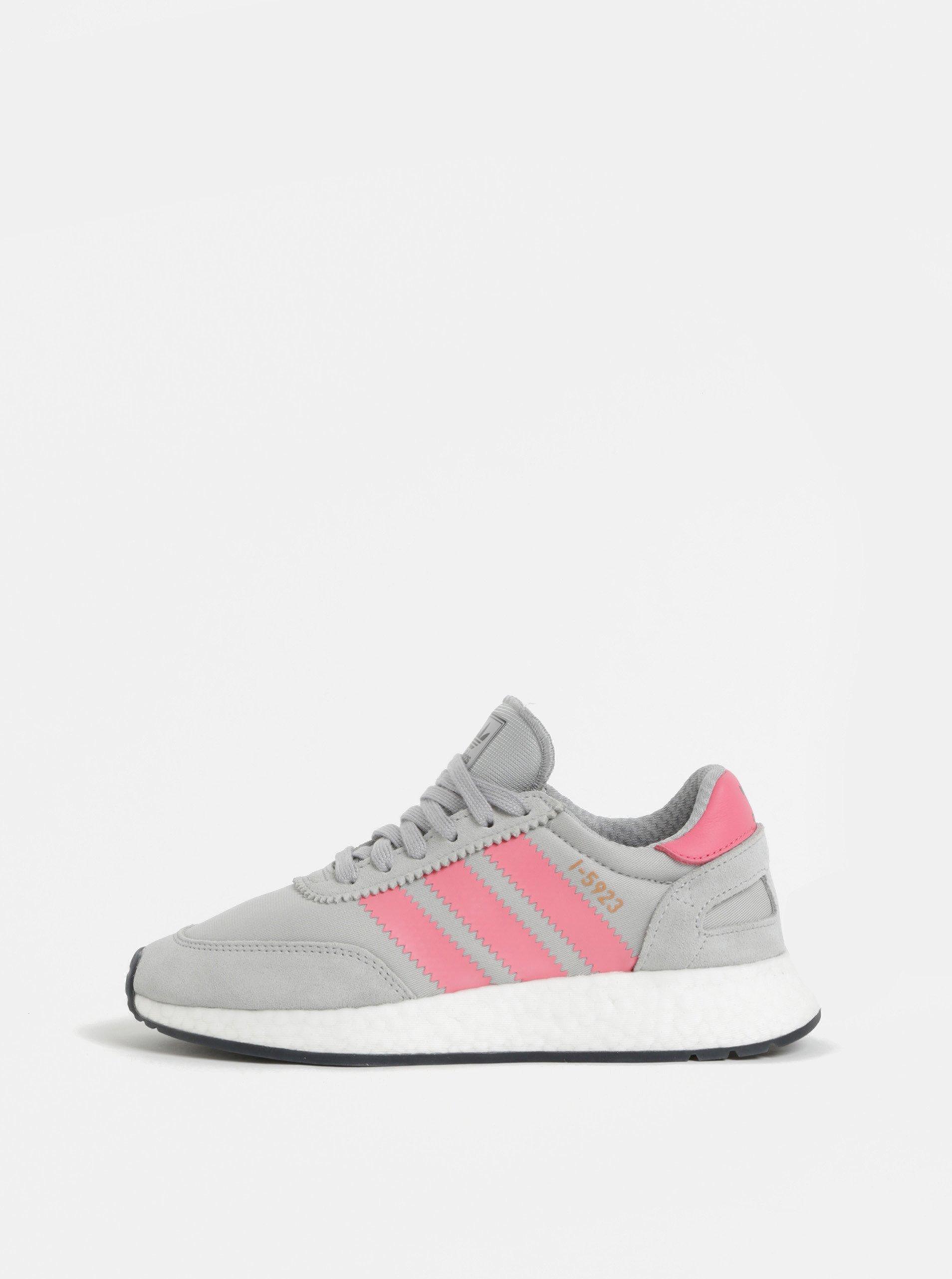 Růžovo-šedé dámské tenisky adidas Originals Iniki Runner