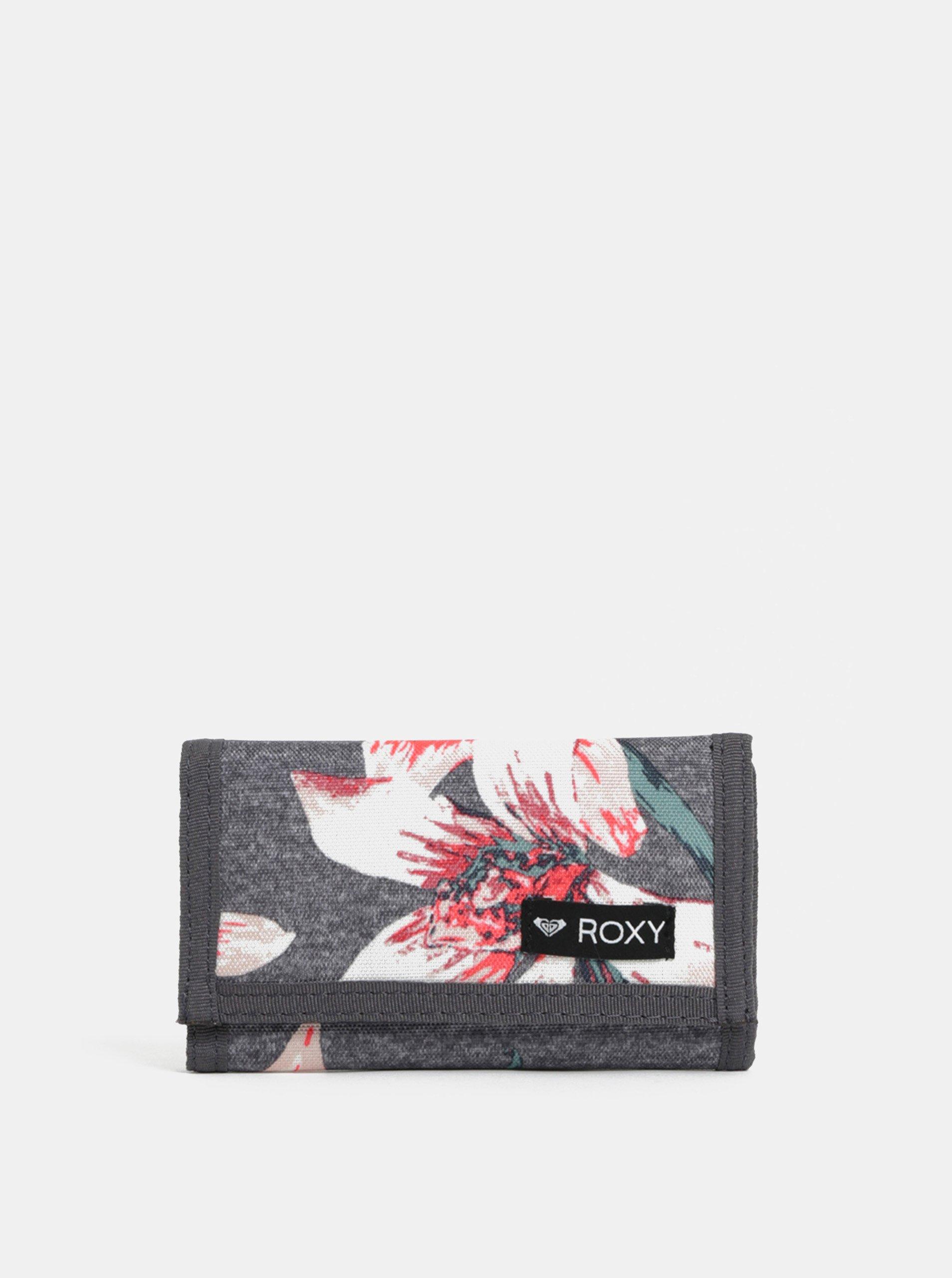 0a47474520 Sivá vzorovaná peňaženka Roxy Charcoal