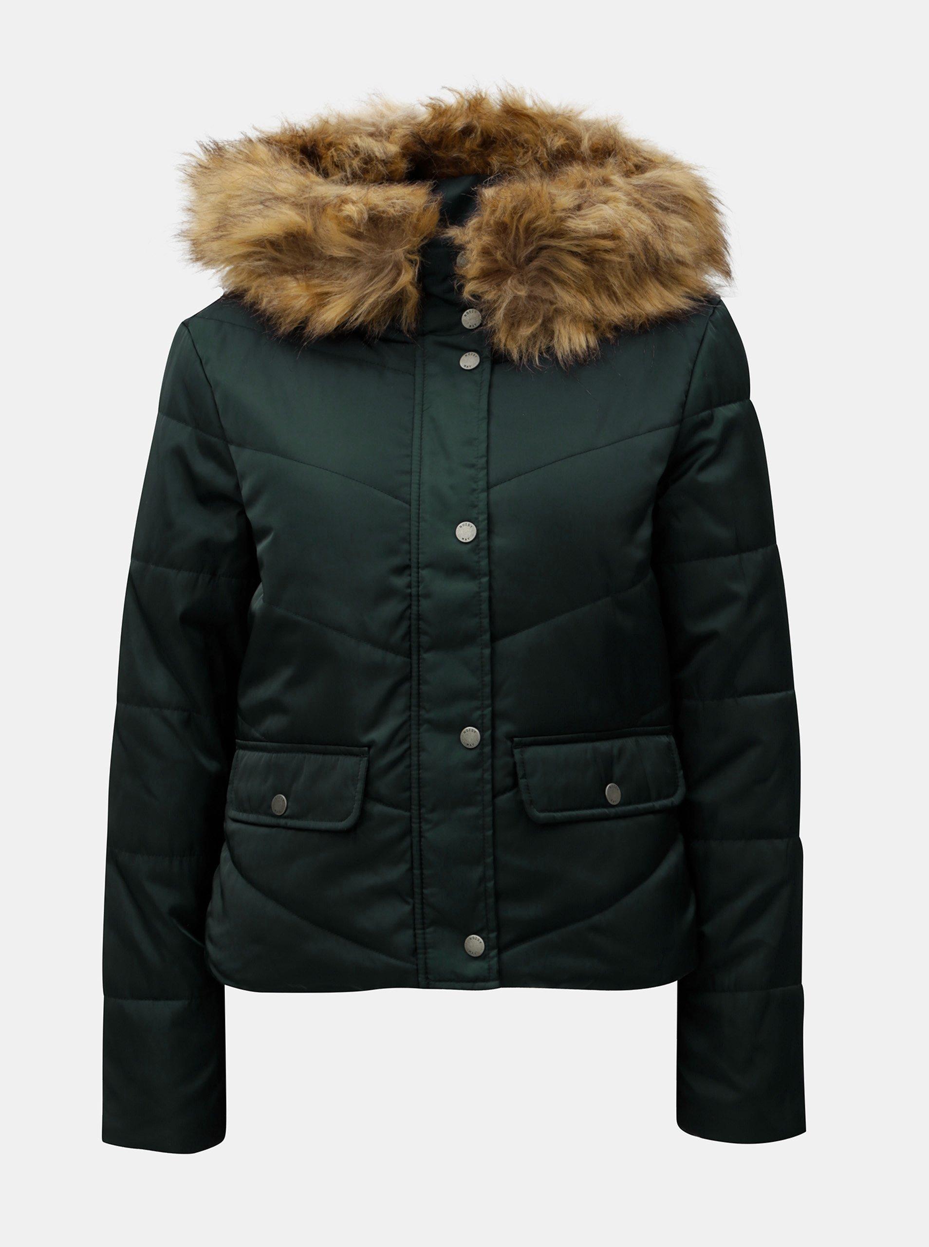 Tmavě zelená prošívaná zimní bunda s umělým kožíškem Noisy May