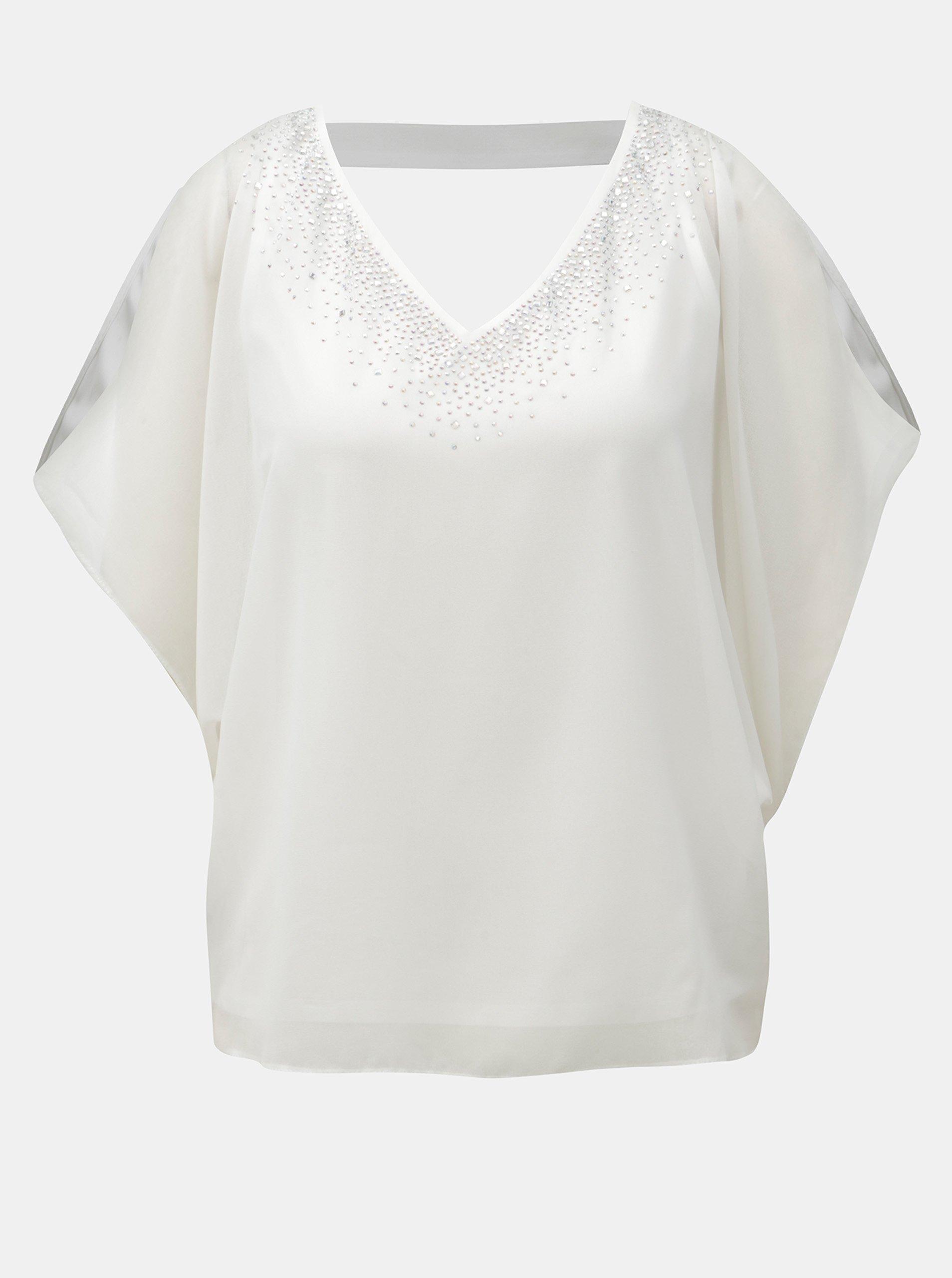 Biela blúzka s priestrihom na chrbte a na ramenách Billie & Blossom Petite