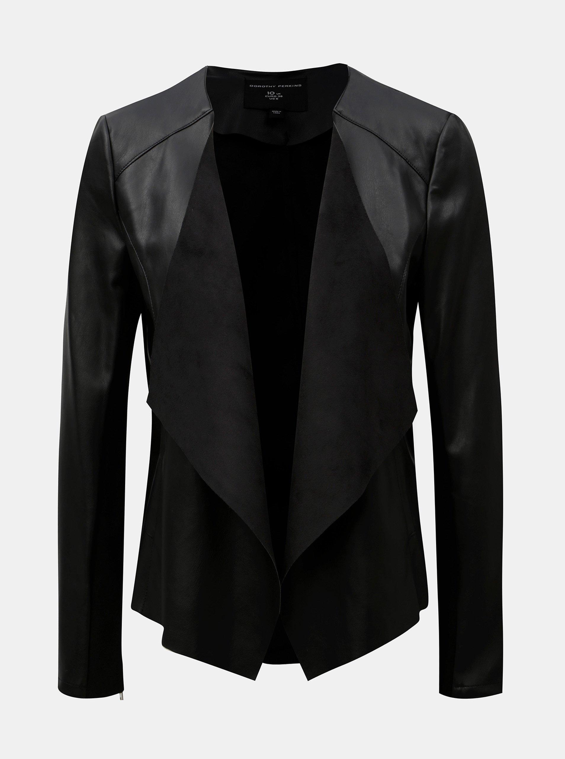 Černá koženková bunda s klopami Dorothy Perkins