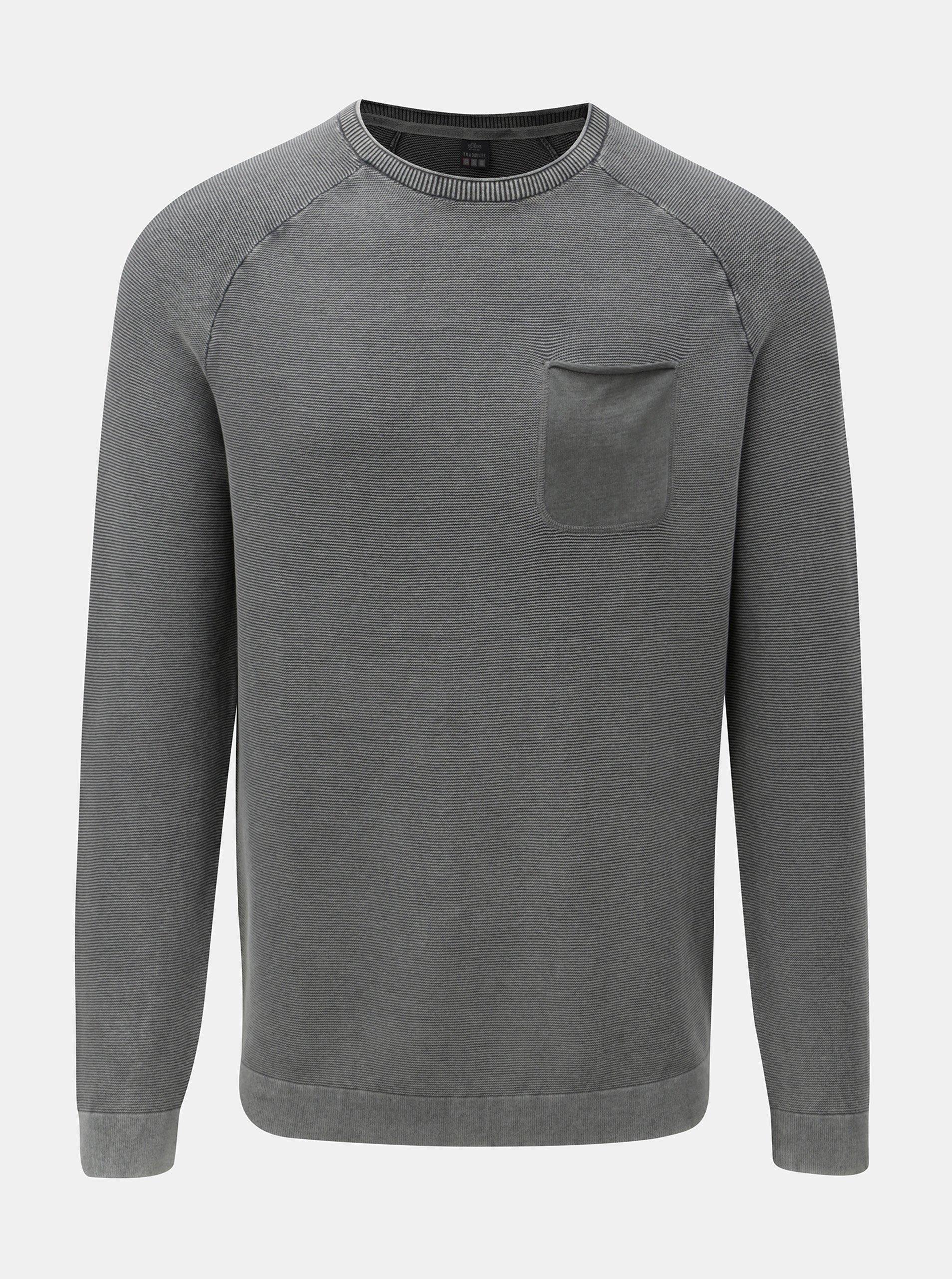 Sivý pánsky melírovaný tenký sveter s vreckom s.Oliver