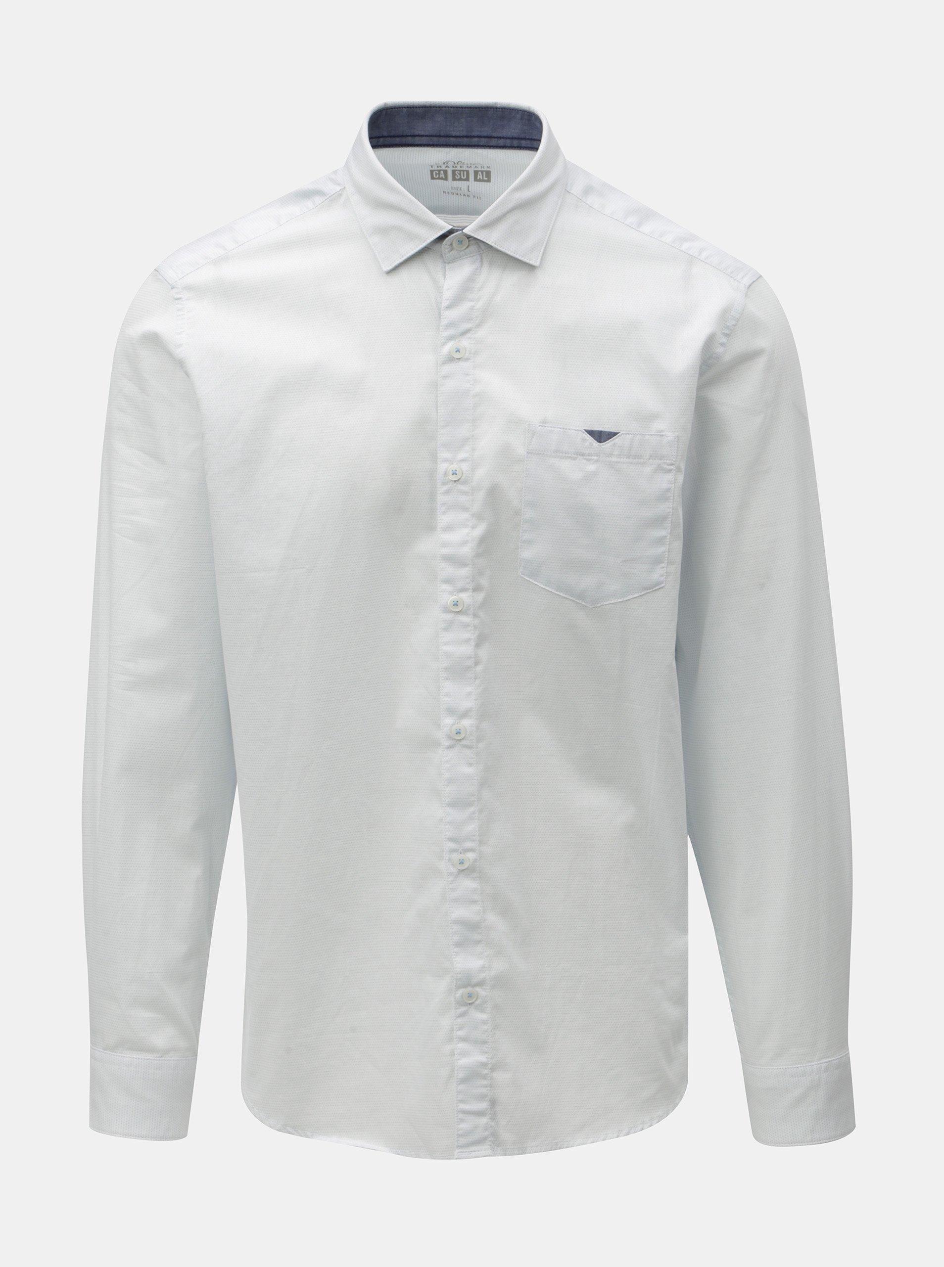 Bílá pánská puntíkovaná regular fit košile s.Oliver