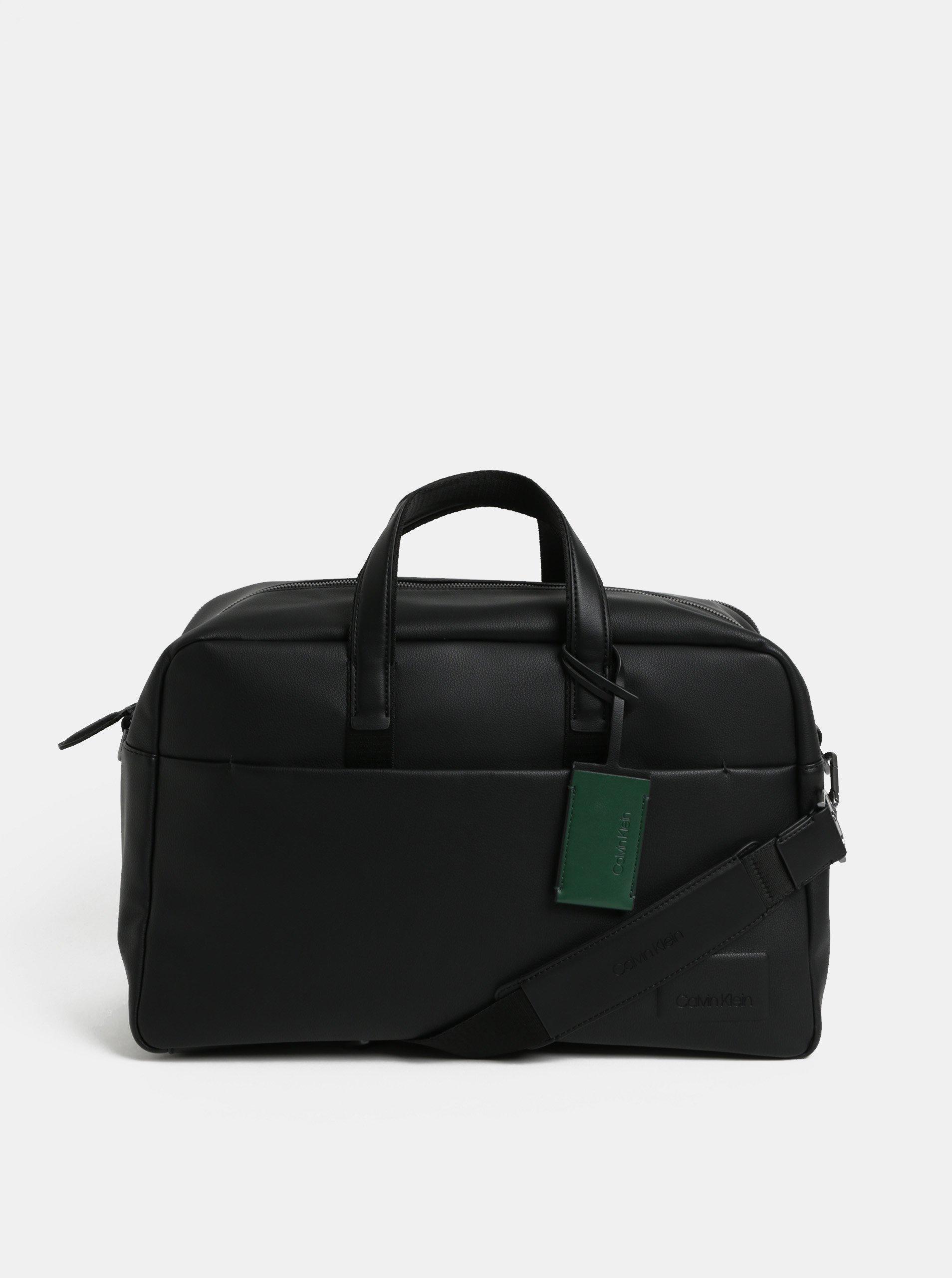 063b1b94eb Černá koženková cestovní taška Calvin Klein Jeans
