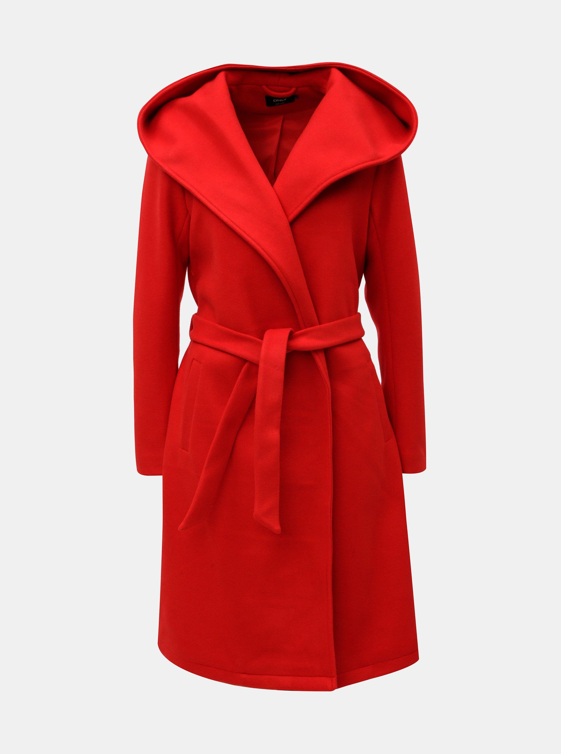 Červený kabát s kapucí a zavazováním ONLY Riley