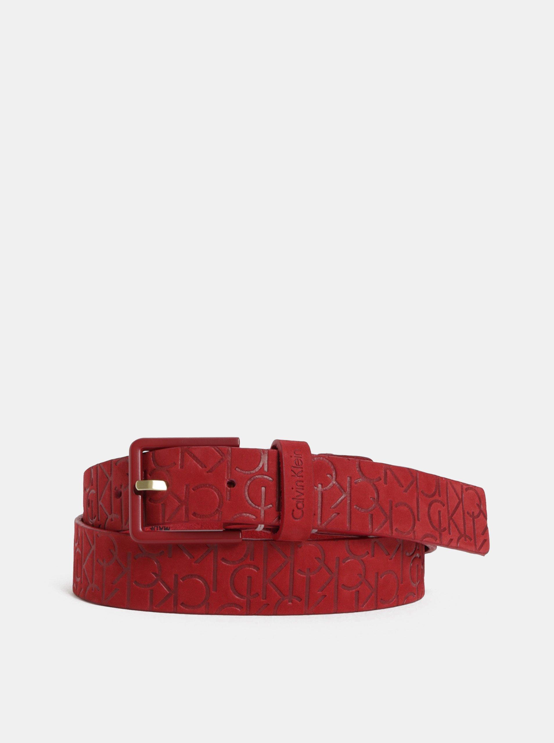 Červený dámsky kožený opasok Calvin Klein Jeans