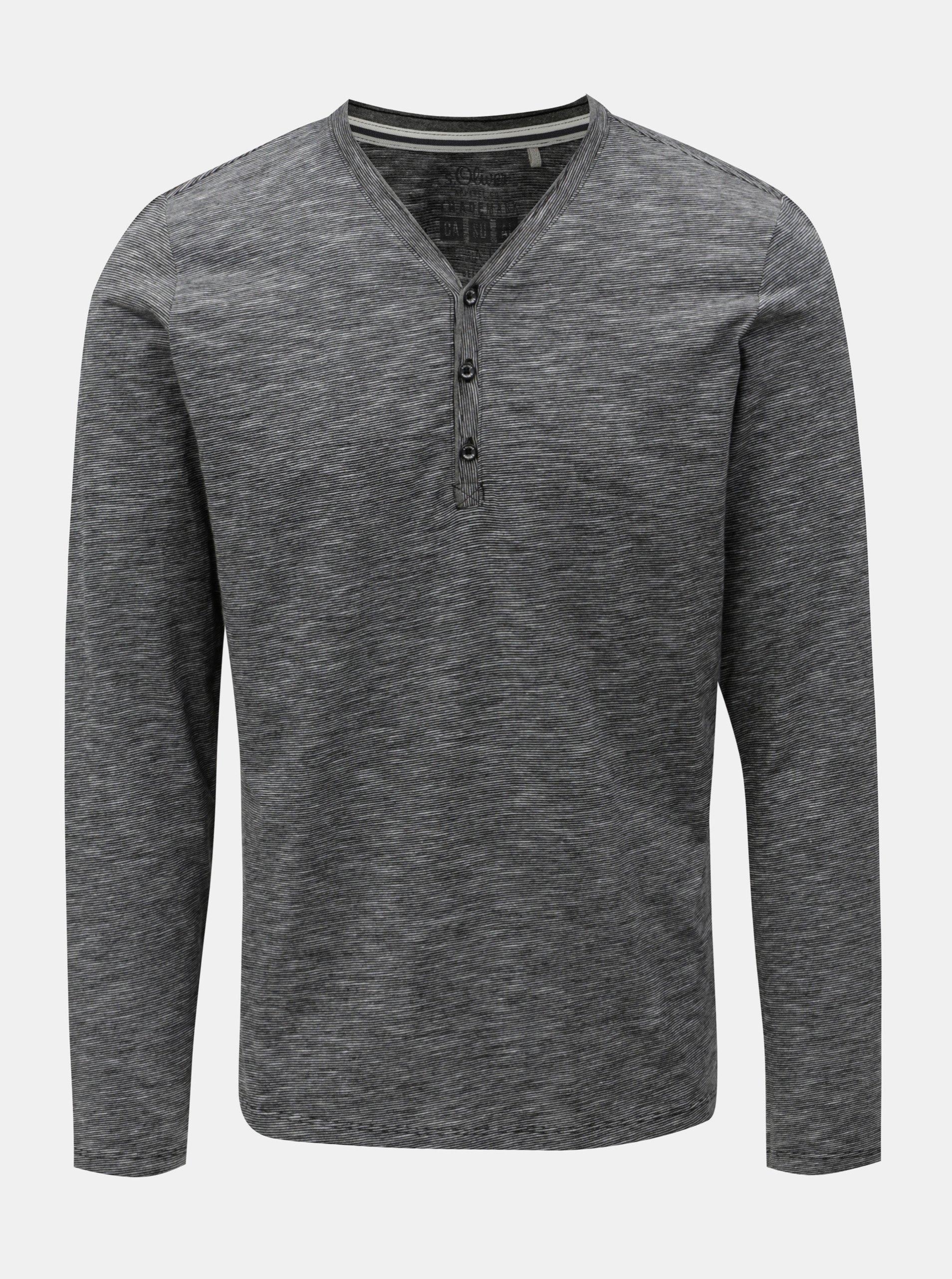 Bielo-čierne pánske melírované slim fit tričko s.Oliver a17279ab685
