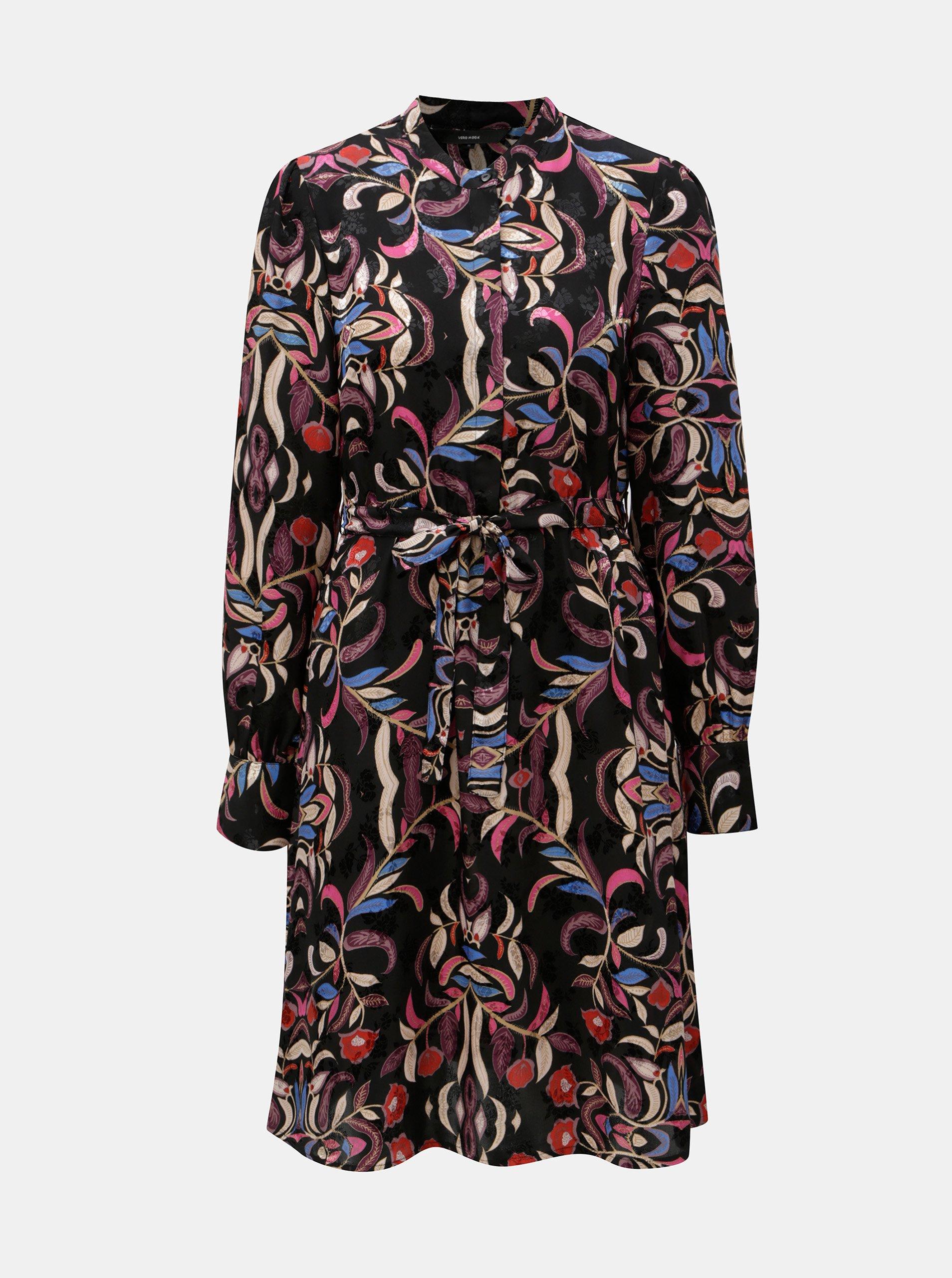 Čierne kvetované šaty s opaskom VERO MODA Gyana