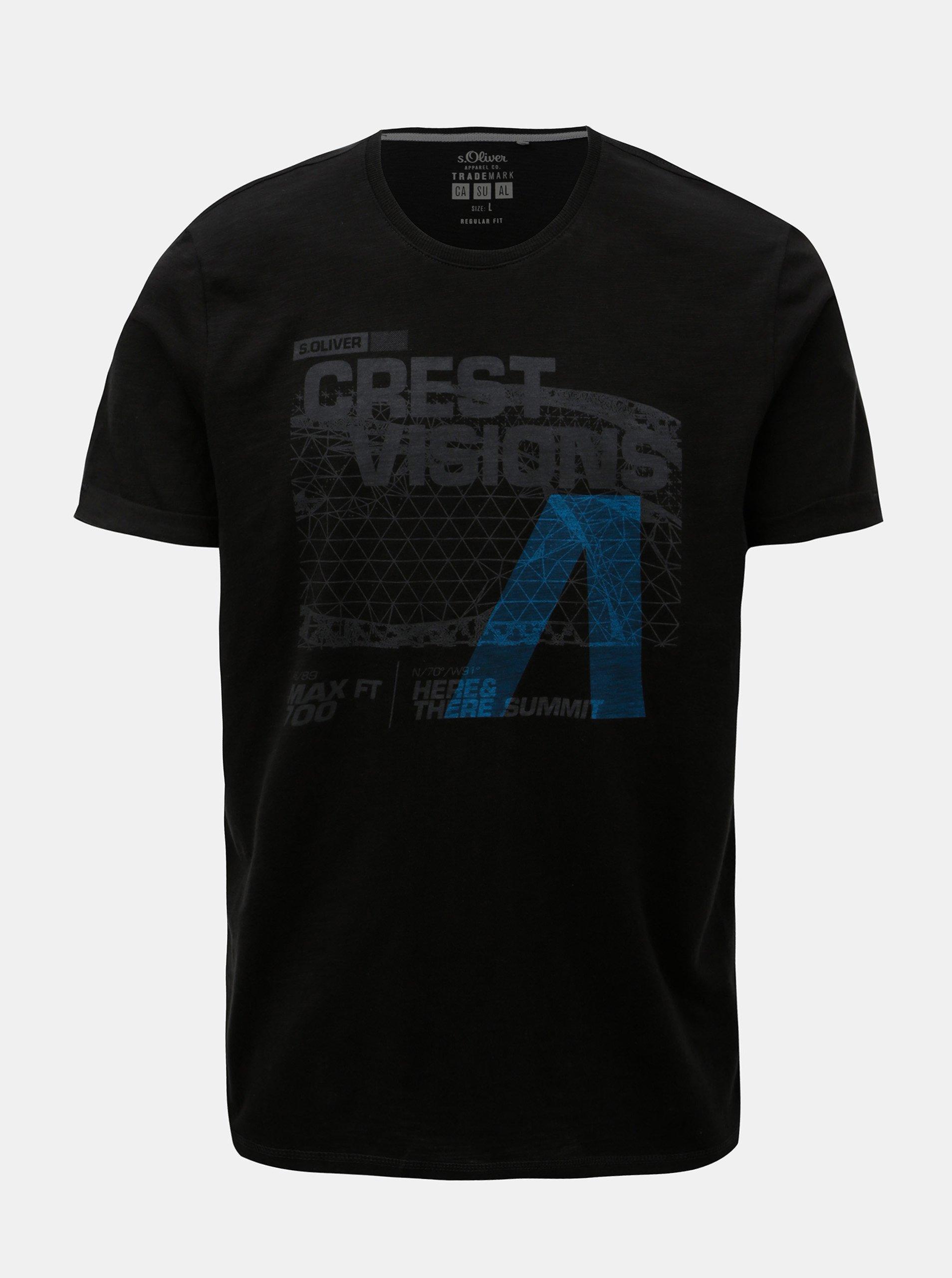 f3256d55c88c Čierne pánske regular fit tričko s potlačou s.Oliver