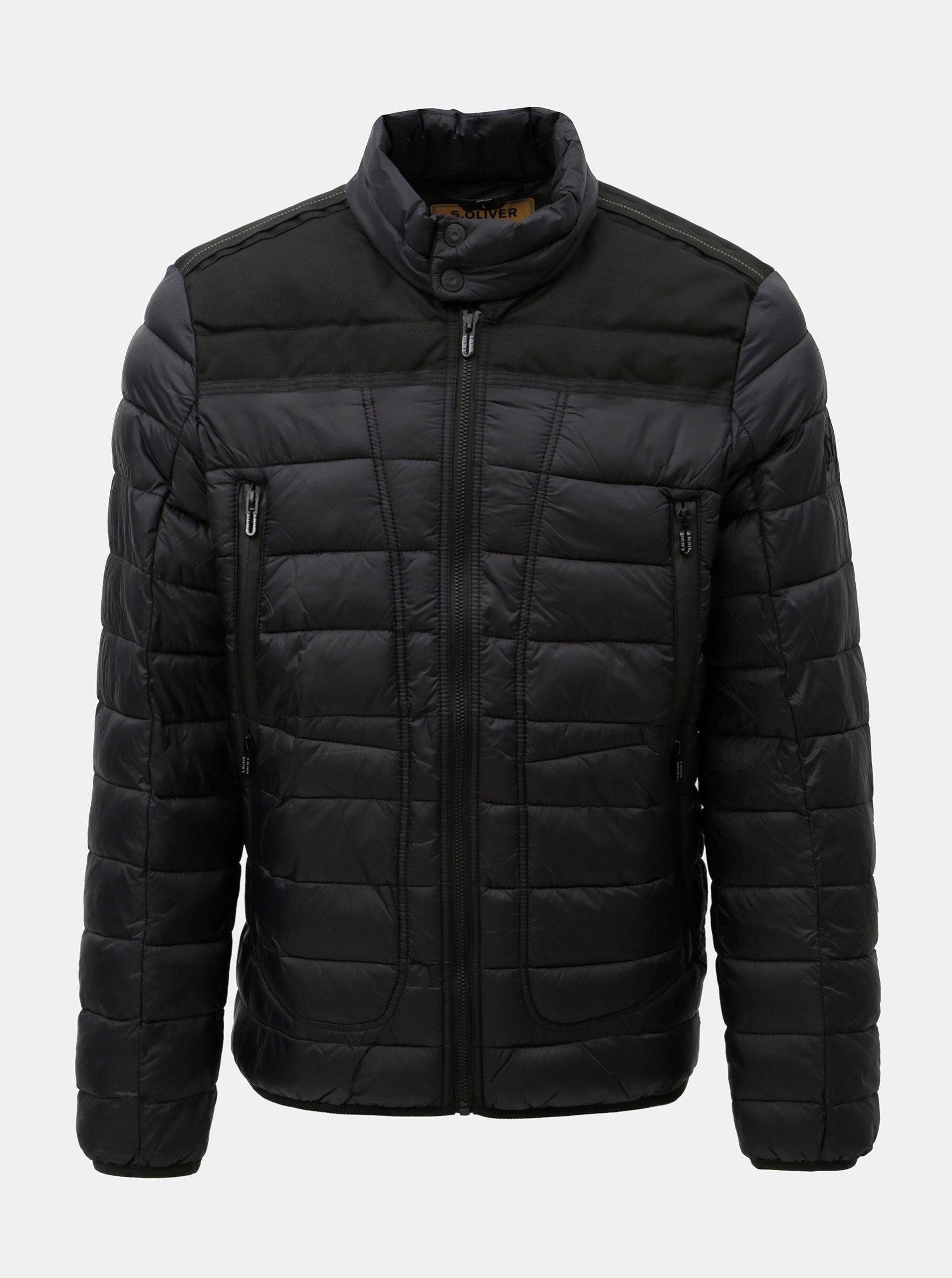Čierna pánska prešívaná bunda s.Oliver