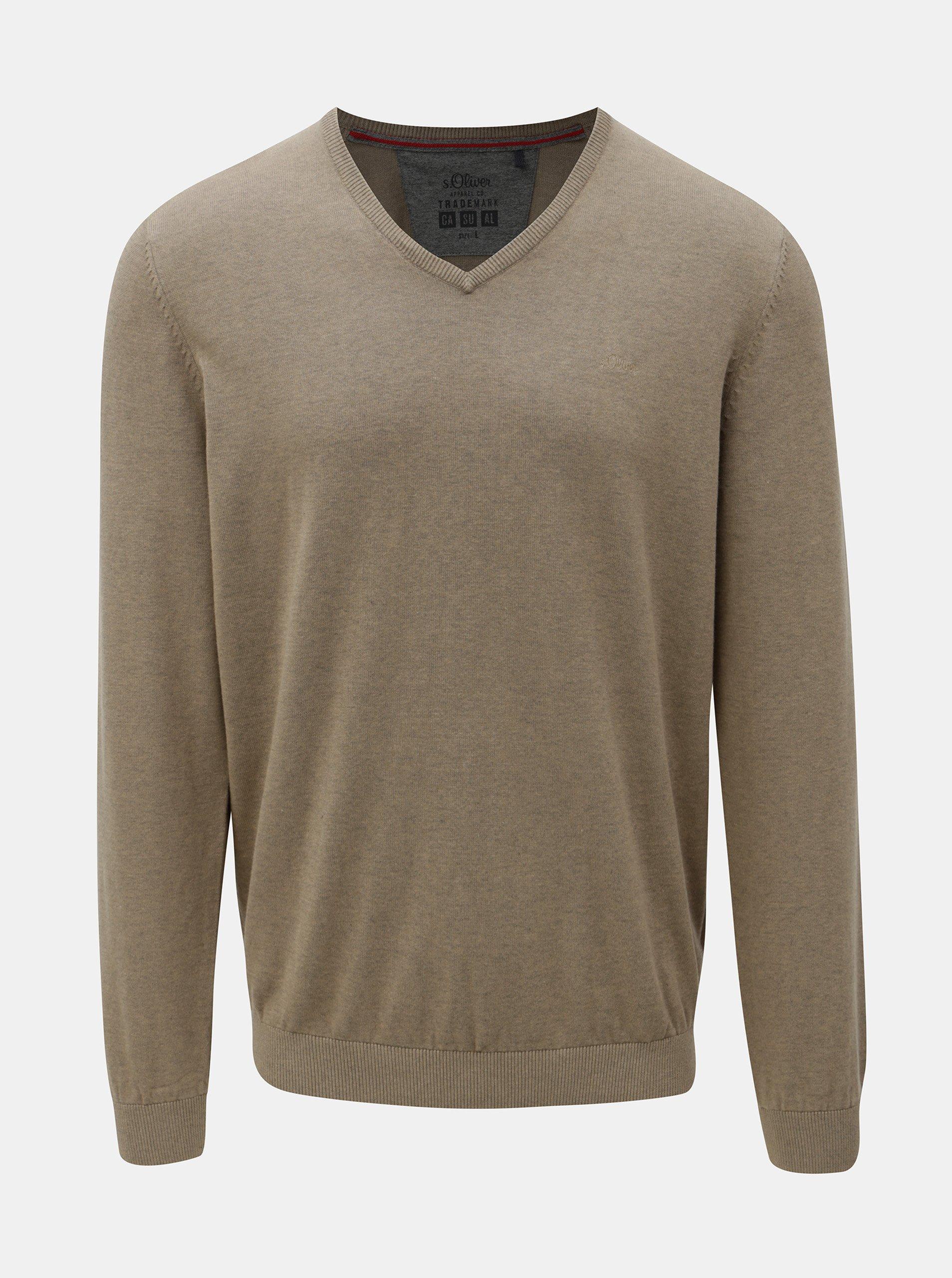 Béžový pánský lehký svetr s véčkovým výstřihem s.Oliver 472e57ed10